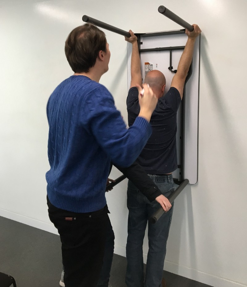 Did we hold the table against the wall to create giant mobile screens? -