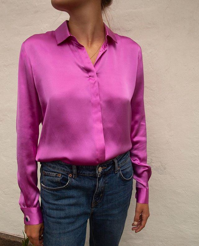 Fall uniform of silk and jeans 🍇 #beigeshop #silk #HotPink #slowfashion