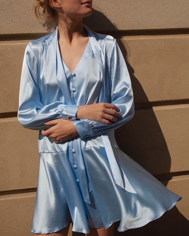 Here' your party dress for the coming months 💎 #beigeshop #silkdress #BabyBlue #silk #slowfashion