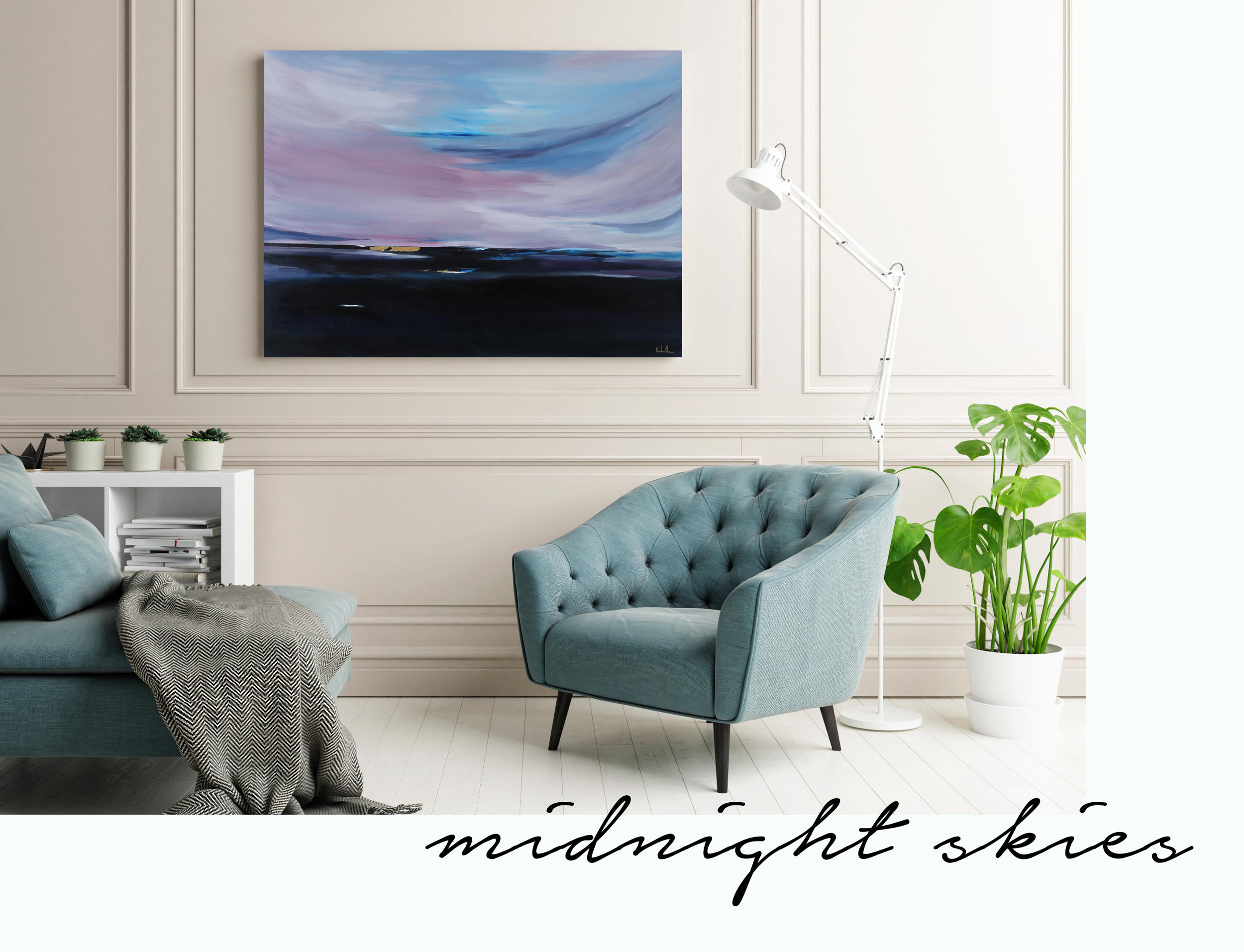 Ombre horizon midnight sky canvas with gold flake