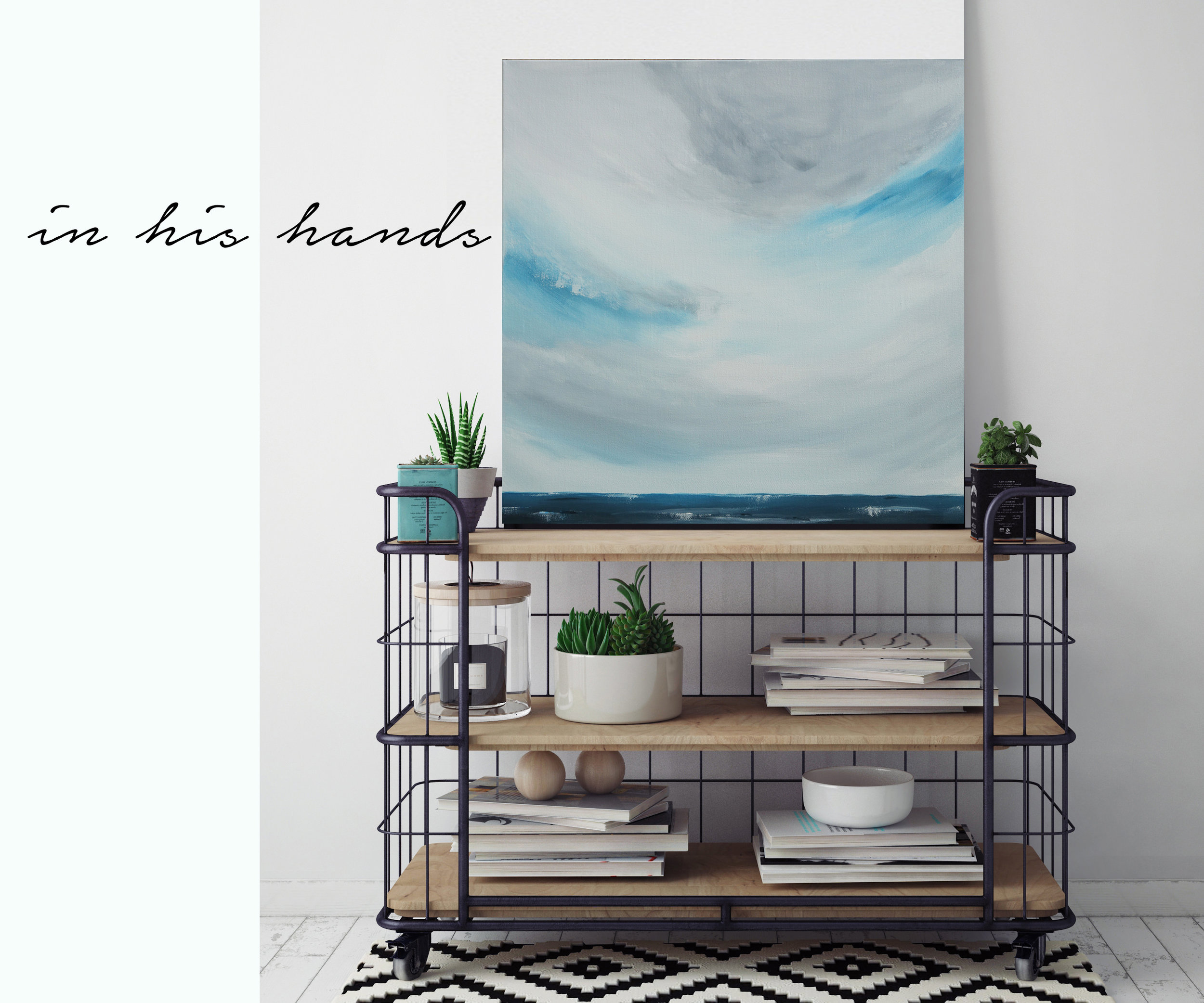 Cloudy day, in his hands canvas painting
