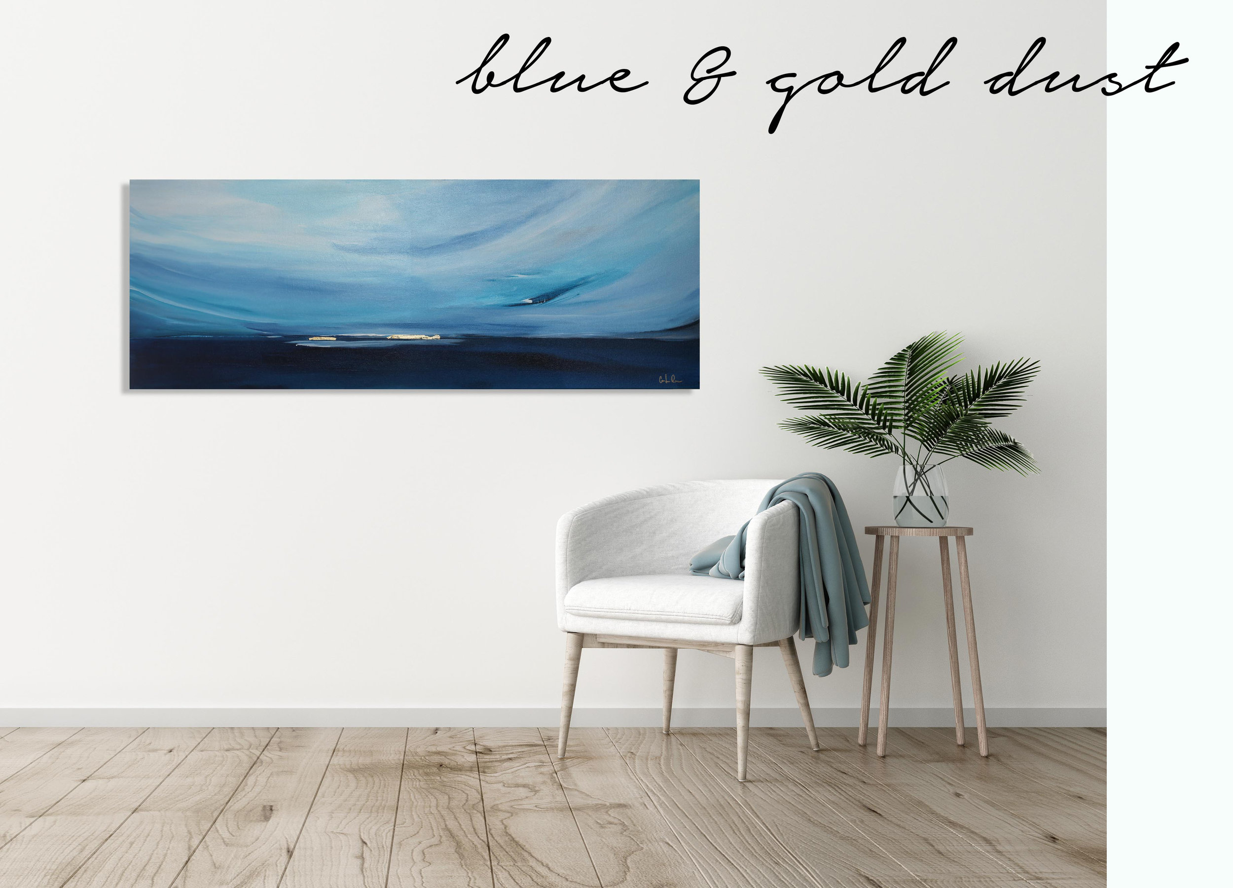 Blue and gold dust horizontal painting