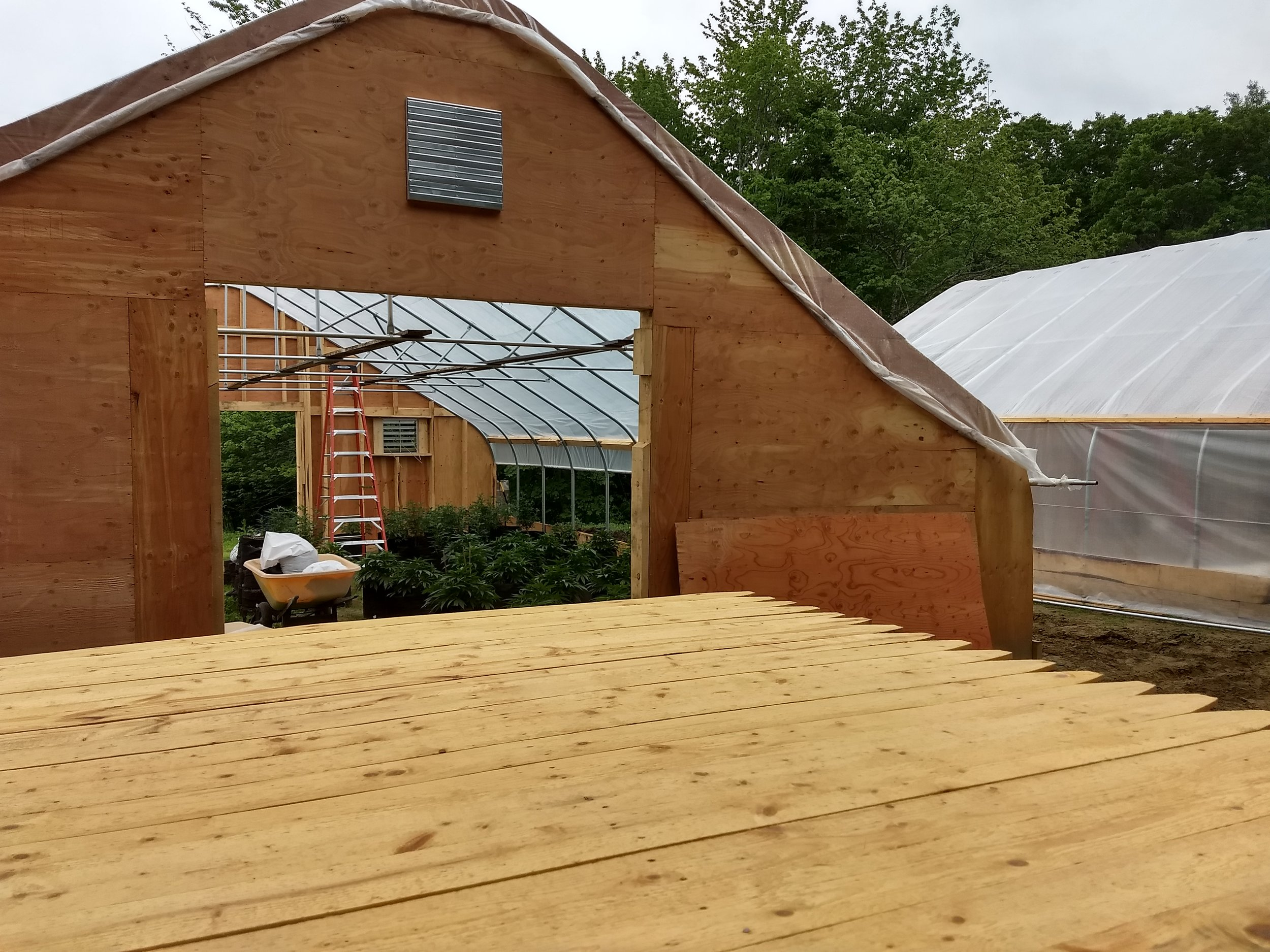 Greenhouses are a go! - We finished construction on both greenhouses and have fans already added. CMP came out and installed the box. We now have electricity and starting on the fence.