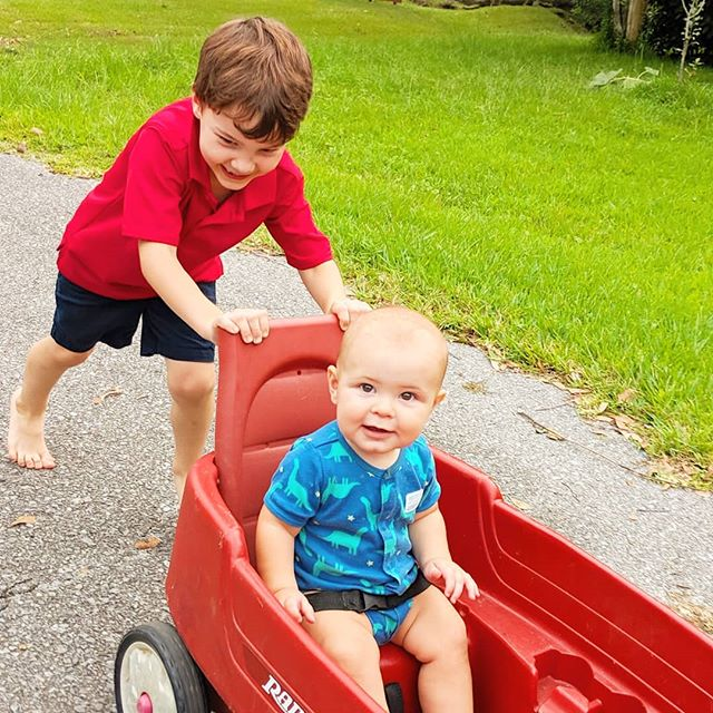 I think @becketvids likes it when I push him around in his wagon! Who's wants to ride next? 💛💙♥️ @thetravelvlogfamily