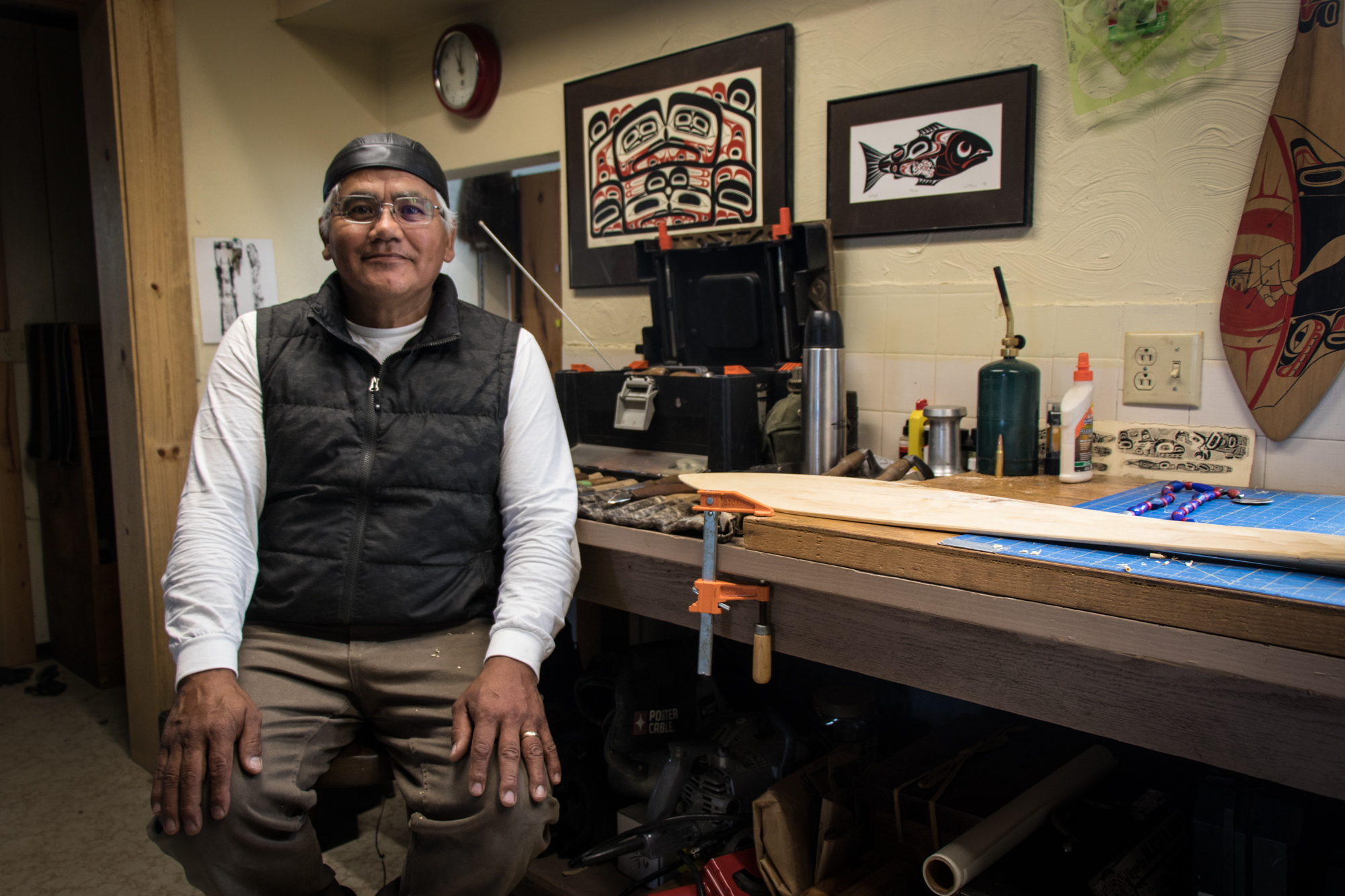 Wayne Price, master carver, , travels frequently between his home in Alaska and the Yukon, working with communities to facilitate their healing journeys through traditional Indigenous art forms.