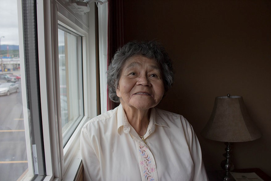 Bessie Cooley is a 73 year old Tlingit woman who believes language is vital to culture. Cooley shares her experiences in residential schools as part of the Yukon Residential School Awareness Program. Photo by Amy Burlock.