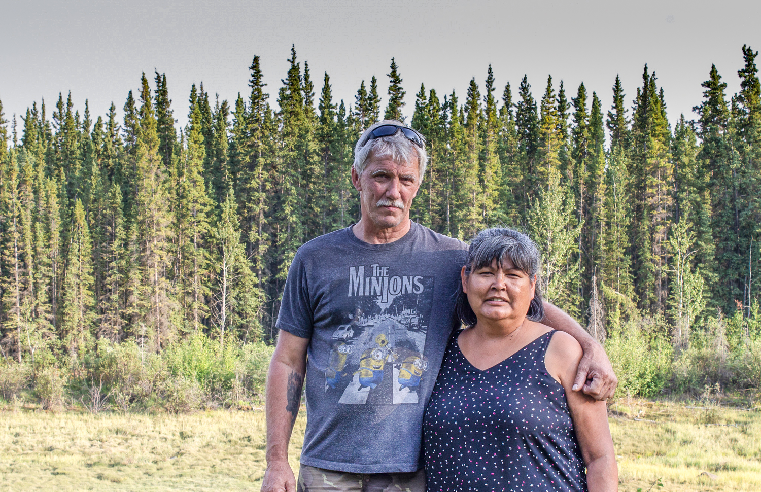 Dorothy Sam with her partner Jeff Glaeser at her family's fish camp. Photo by Kiera Kowalski