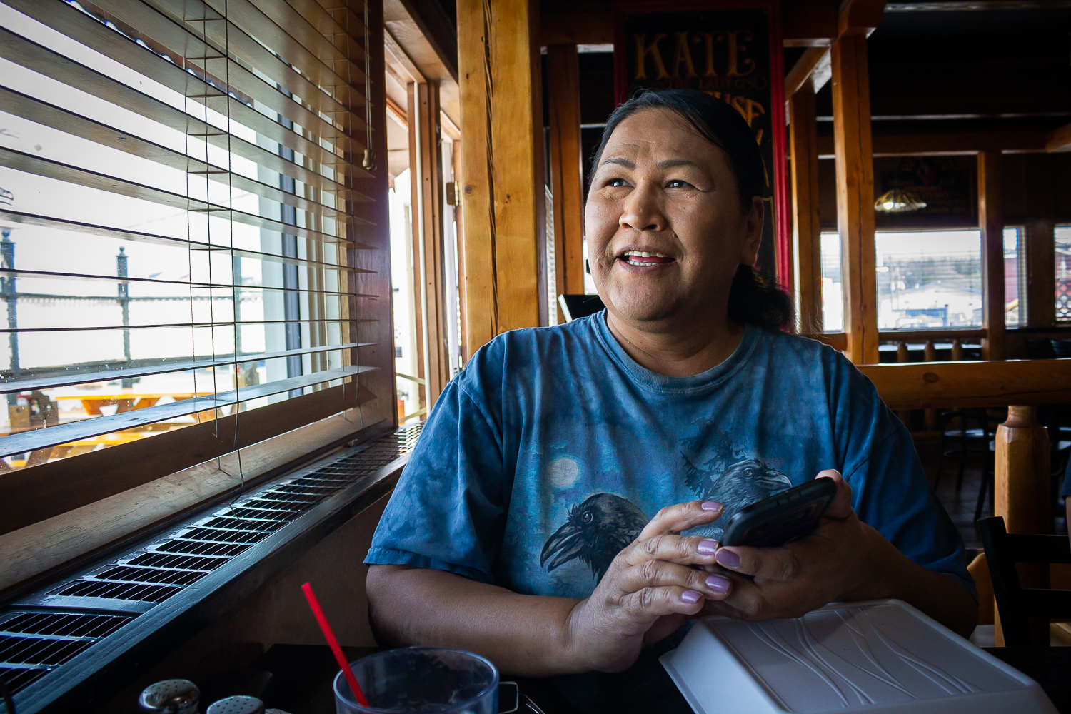 "Ronnie Young sits in the Legends Smokehouse and Grill restaurant in Whitehorse. ""I go here all the time,"" she says happily. The servers greet her with a warm, familiar smile, and soon enough, Ronnie tucks in to a large plate of pancakes, sausages and hashbrowns. Photo by Adam van der Zwan."
