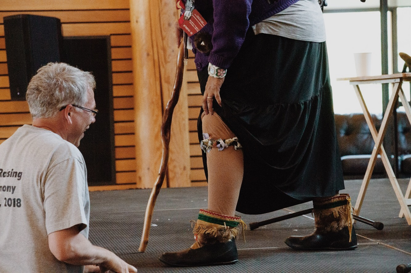 Shorty teases an audience member during her performance at a totem-pole raising in Carcross, YT, in July 2018.
