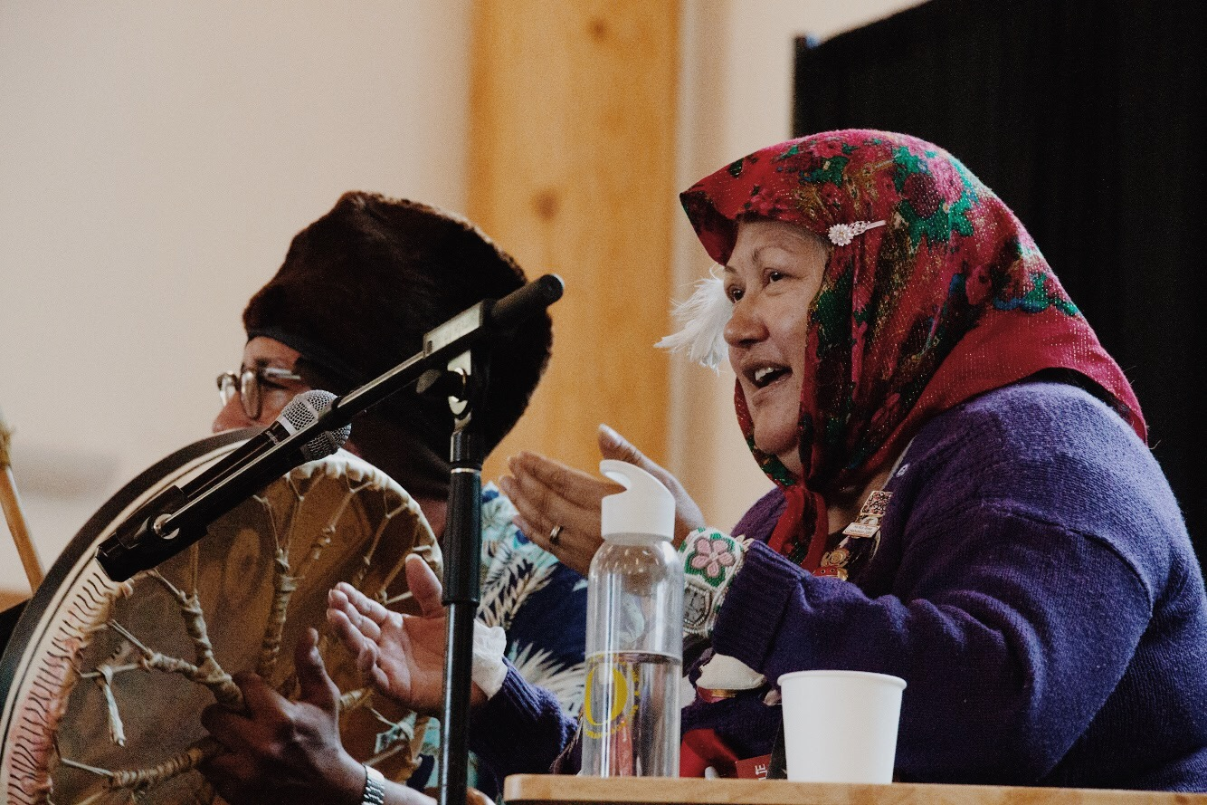 Shorty and Ghastant' Aucoin perform a traditional song and ask the audience to sing and dance along.