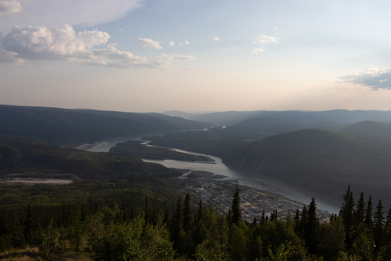 The confluence of the Yukon River and the Klondike River, where the Tr'ondëk Hwëch'in people had their fish camp. Photo by Caroline Mercer