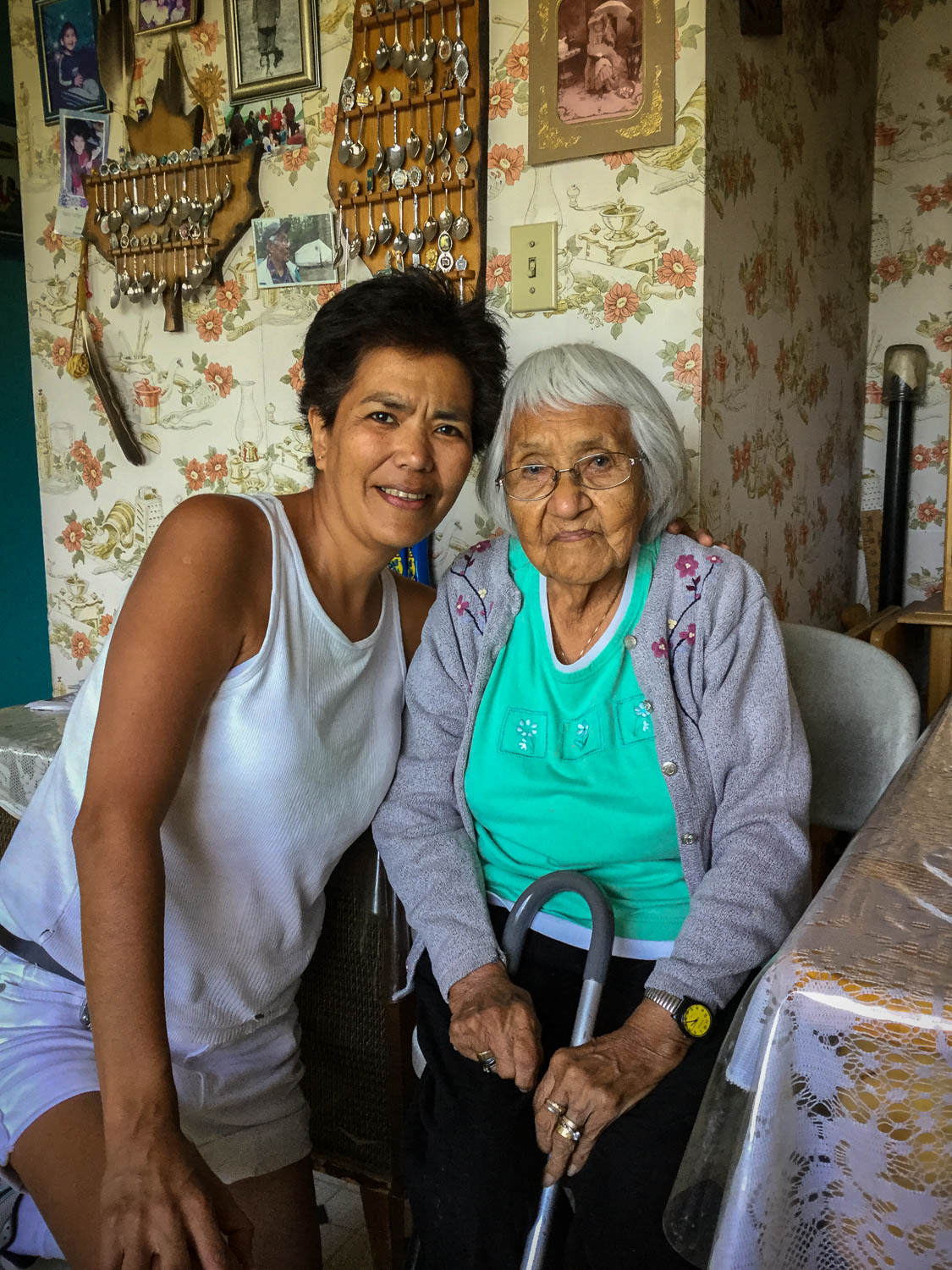 Although Karrie's mother Mary Ann died in 2014, her grandmother Winnie Atlin still lives in Carcross. After the pole raising, Karrie met with Winnie, who taught her granddaughter some words in Tlingit.