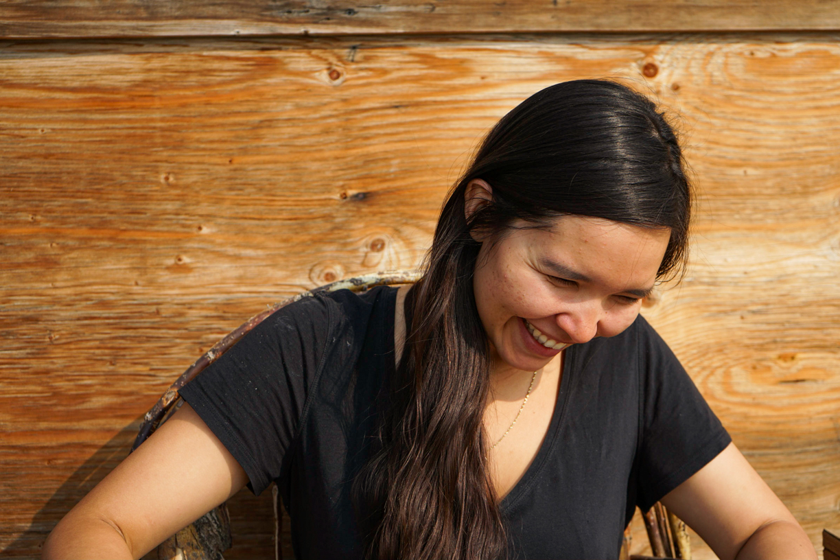 Briana says when people speak Gwich'in, you can tell the difference because there's more emotion. (Photo: Clare Duncan)