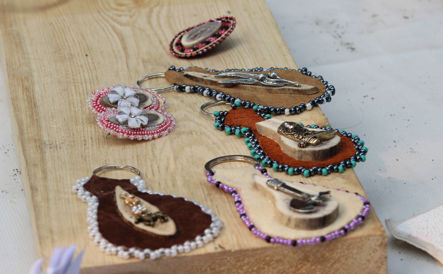 These keychains and jewelry pieces are made from caribou hide and antlers. (Photo: Sarah Sibley)