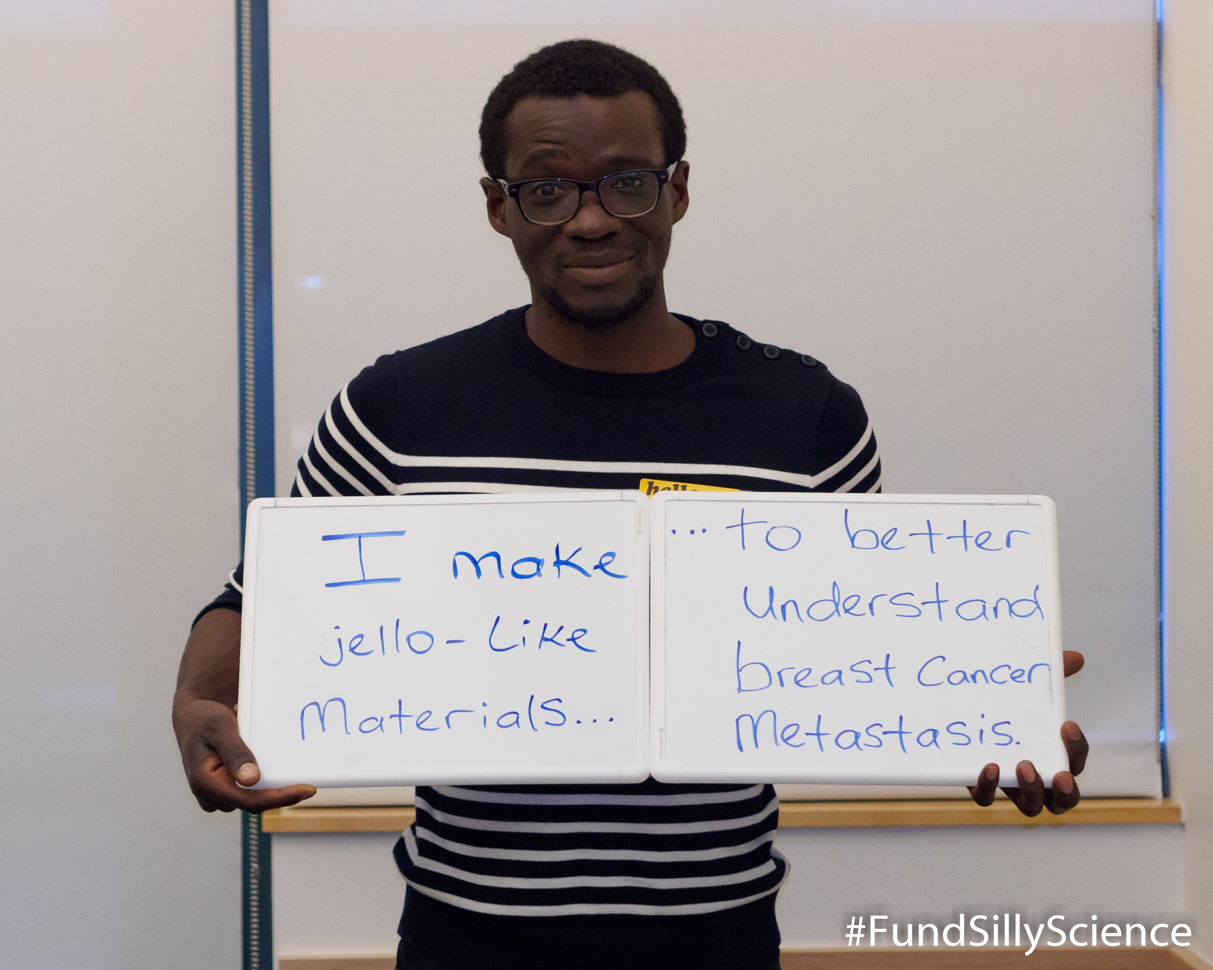 "This is Kolade, a graduate student at Stanford. ""90% of cancer deaths are due to metastasis. The mechanical properties of breast tumor environments are surprisingly similar to Jello. We use our materials to understand how cancer cells move through their environment."""