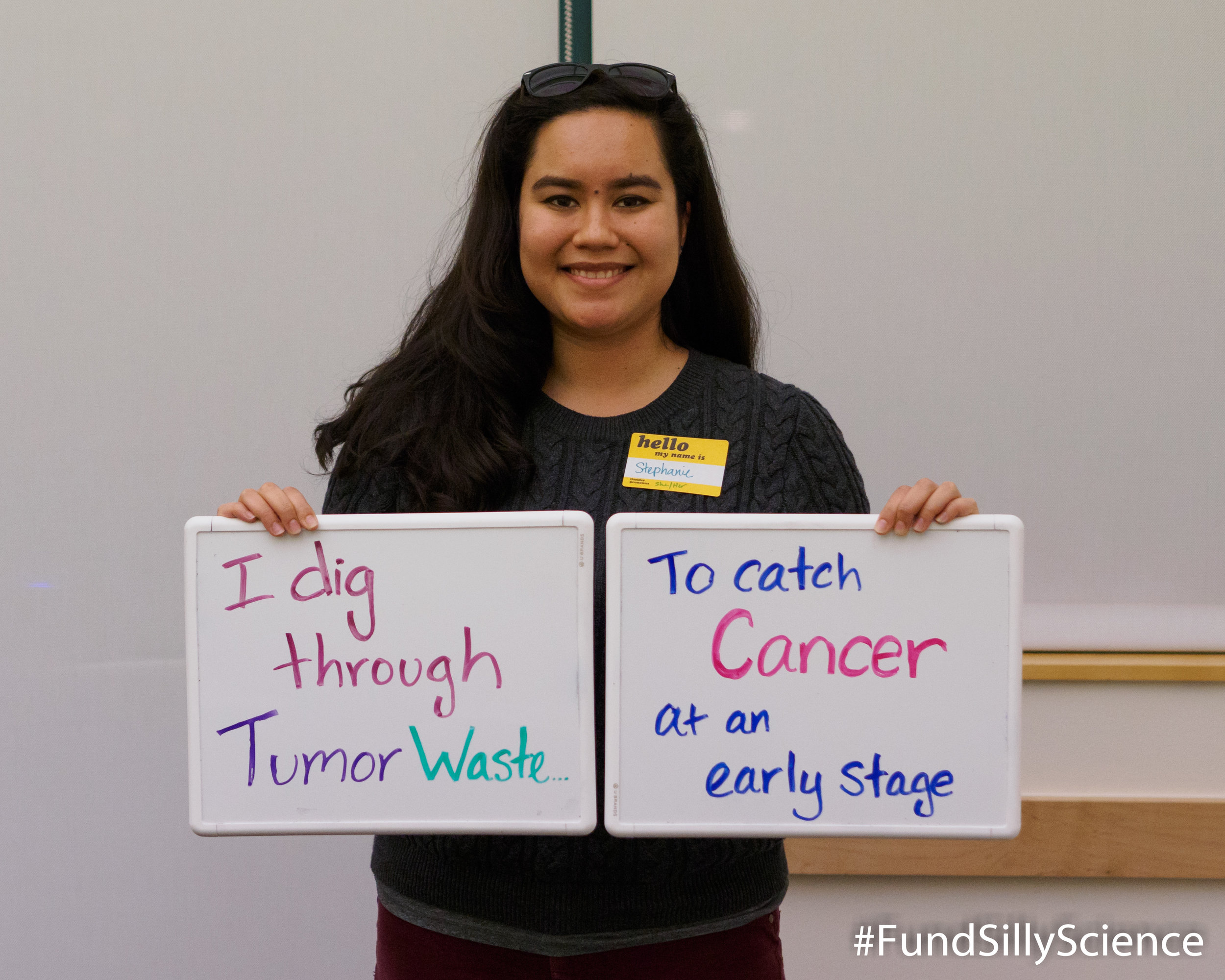 "This is Stephanie, a research associate at Stanford. ""Tumors shed DNA in the blood. We can extract that DNA, decode its sequence and create a profile specific to any type of cancer."""