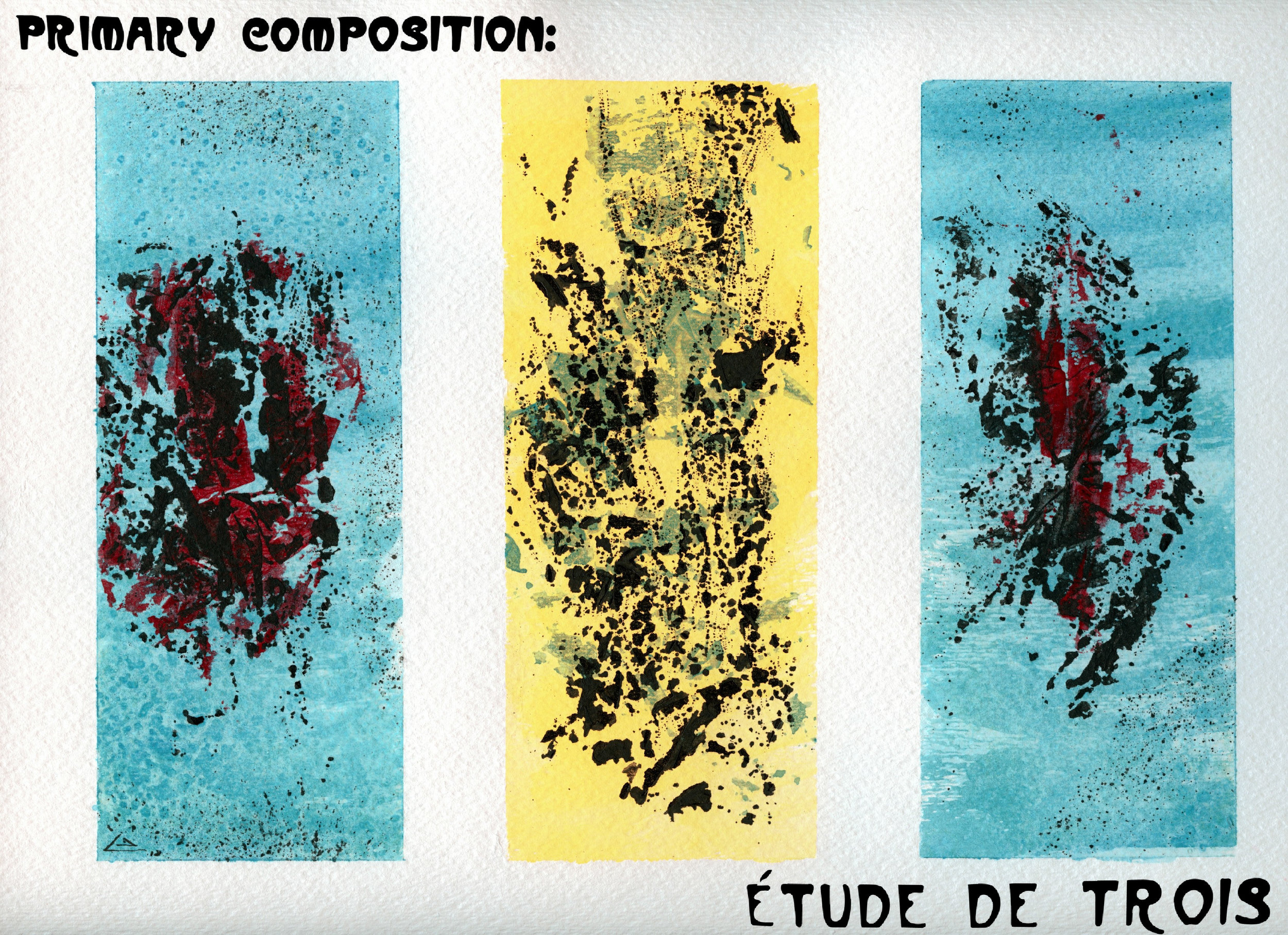 (Scan of watercolor painting in the Post Conventional Expressionist style.  M . Graham Artists' Watercolors used. 9x12 on cold press paper.)  Title - Primary Composition: étude de trois - 06/21/2018