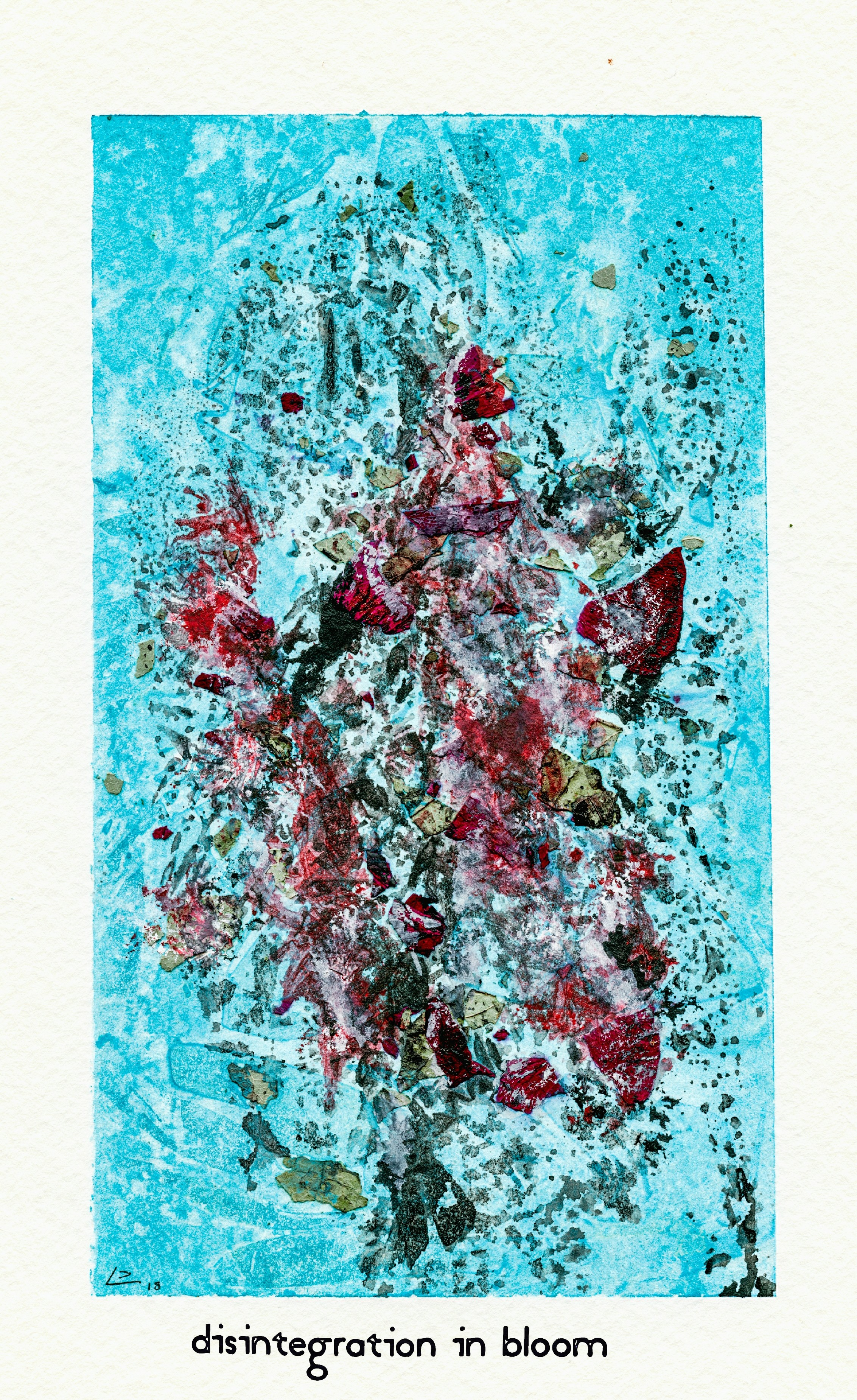 (Scan of watercolor painting in the Post Conventional Expressionist style.  M . Graham Artists' Watercolors used. 5x8 on cold press paper, with dried flowers mixed into the paint. Title - Disintegration In Bloom - 06/27/2018)