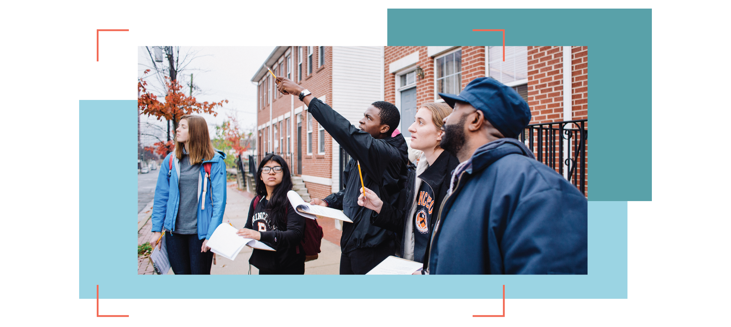 Princeton students with notepads surveying housing in a suburban setting