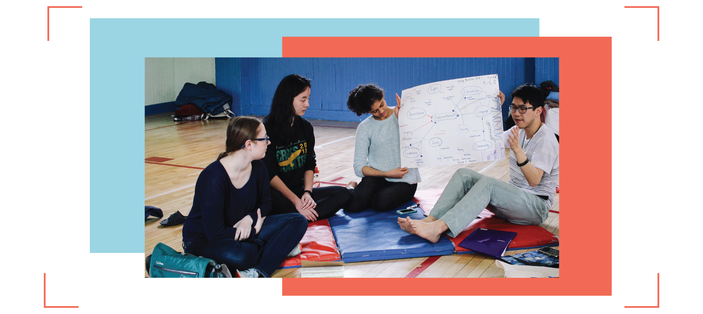 Princeton Students sitting on the ground in a circle, and holding up a handwritten bubble diagram showing the result of a brainstorming collaboration