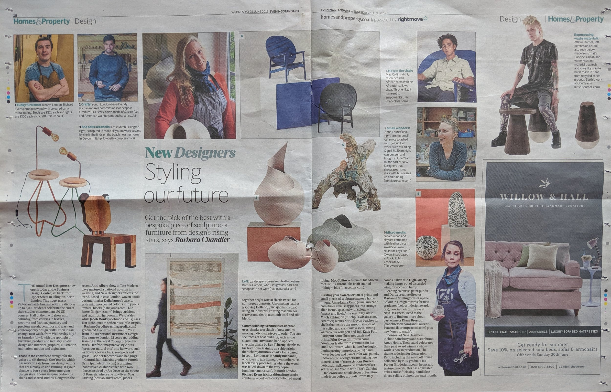 The Evening Standard 26.06.19 - Featured in an article for the Evening Standard Newspaper written by Barbara Chandler about New Designers 2019.