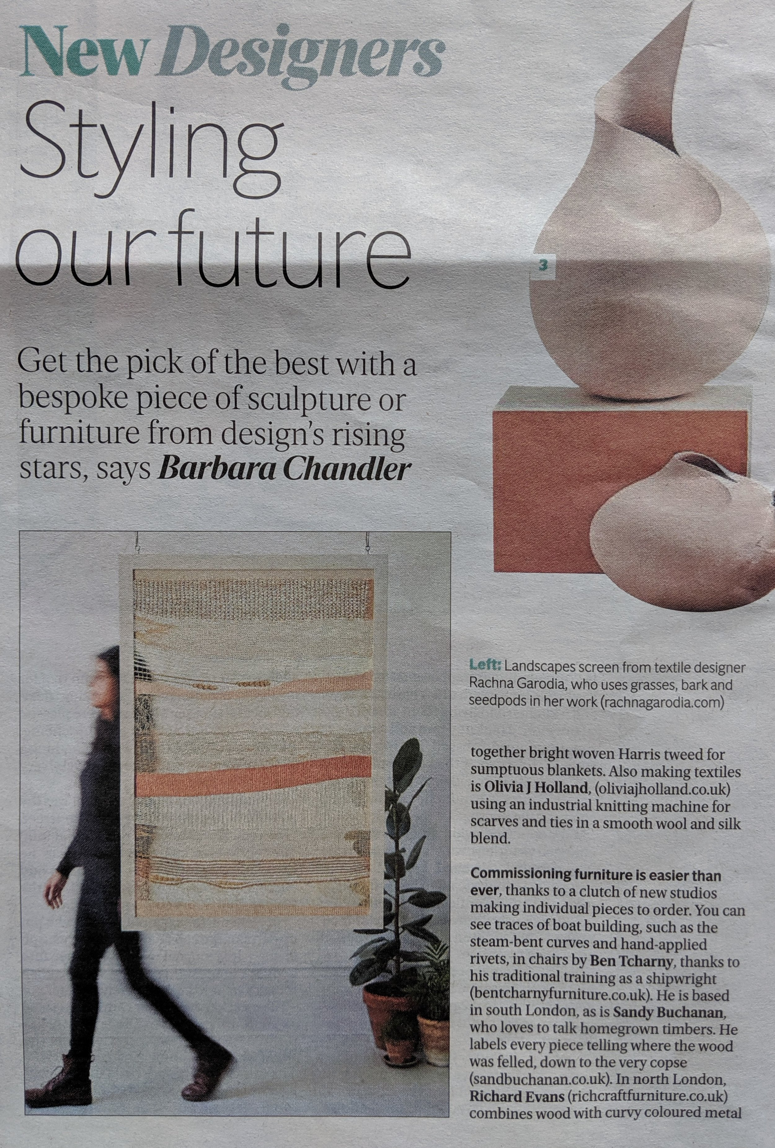 Featured in  The Evening Standard  26.09.19, 'Design's rising stars'.