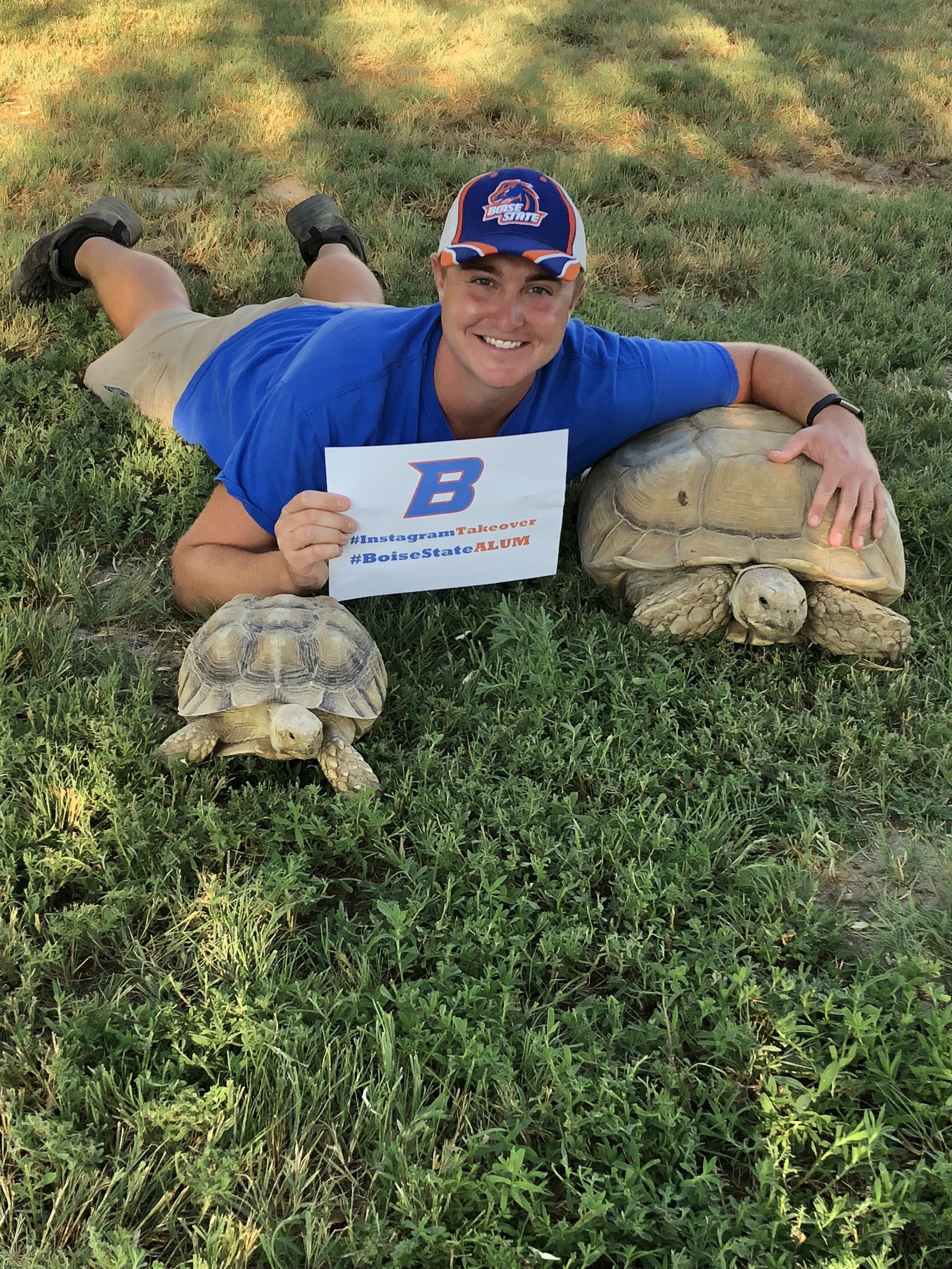 Littlefoot, Me, and Tinkerbelle, both Sulcata Tortoises.