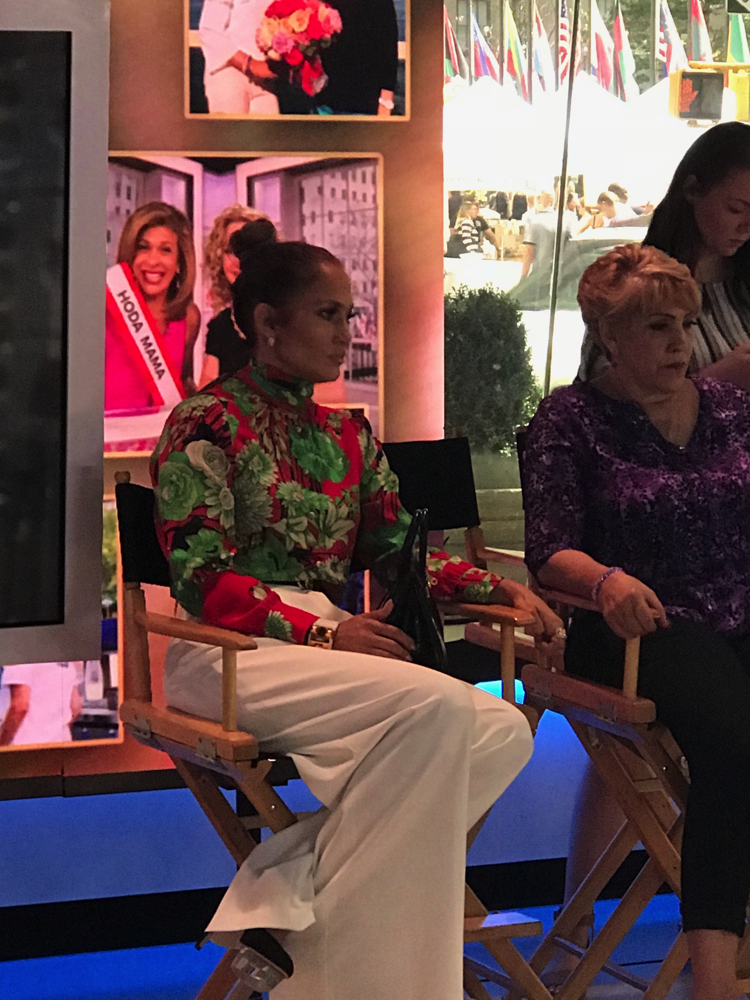 Jennifer Lopez and her mom watching the segment live in Studio 1-A.