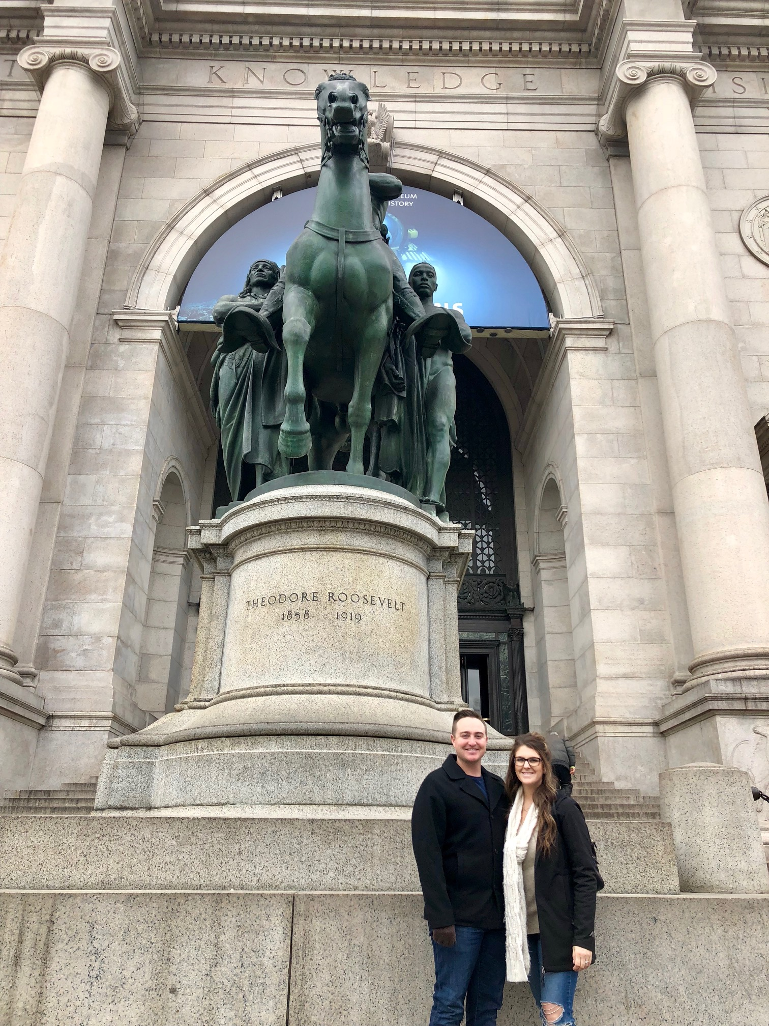 My wife and I in front of the American Museum of Natural History.