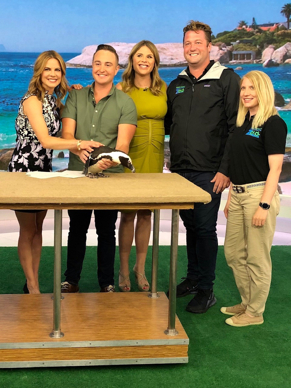 Pictured with Natalie Morales, Jenna Bush Hager, Mike Kerr, and Caitlin Sharp from The Turtle Back Zoo.