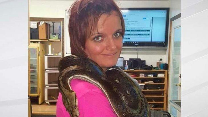 Laura Hurst with pet python.