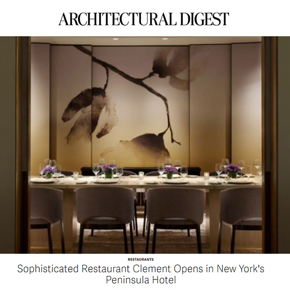 Architectural Digest - March 2014Sophisticated restaurant Clement opens in New York's Peninsula Hotel
