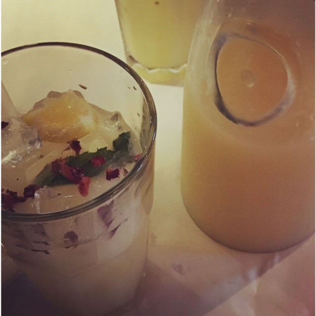 Minted rose petal lemonade at Bakara in Cambridge