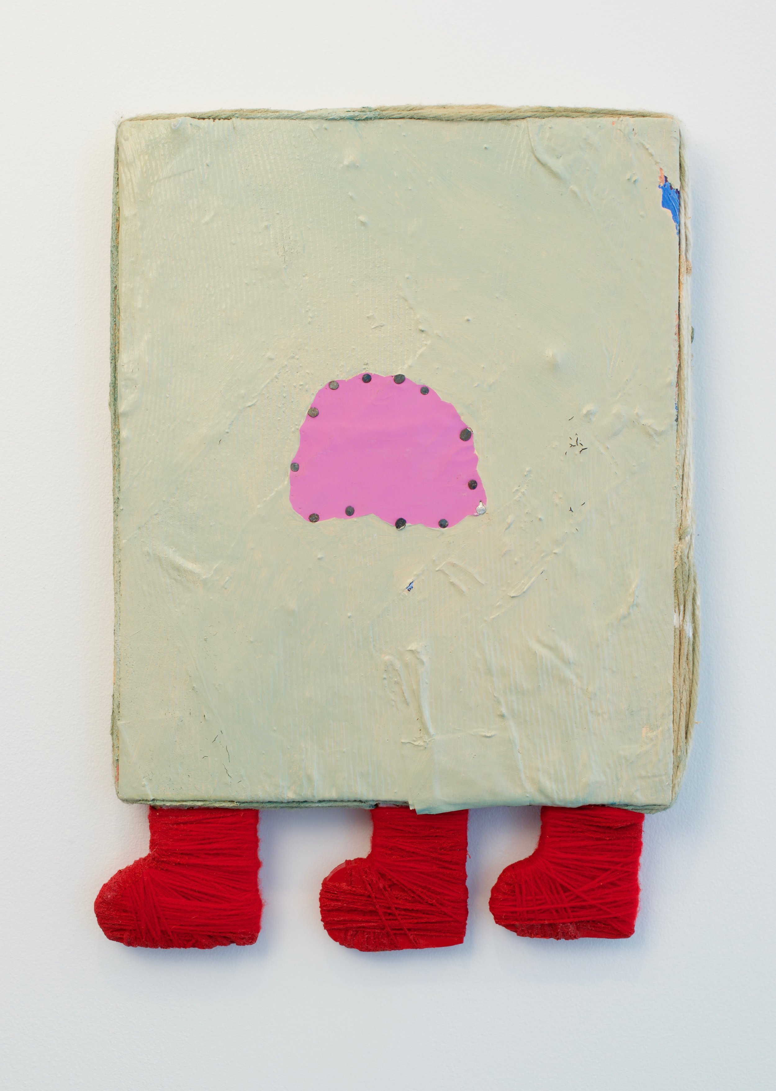 Jamey Hart, Walking on Mars, 2015. Acrylic, Fabric, Paper, Glue, String, Wood and other things. 19 x 13 inches.