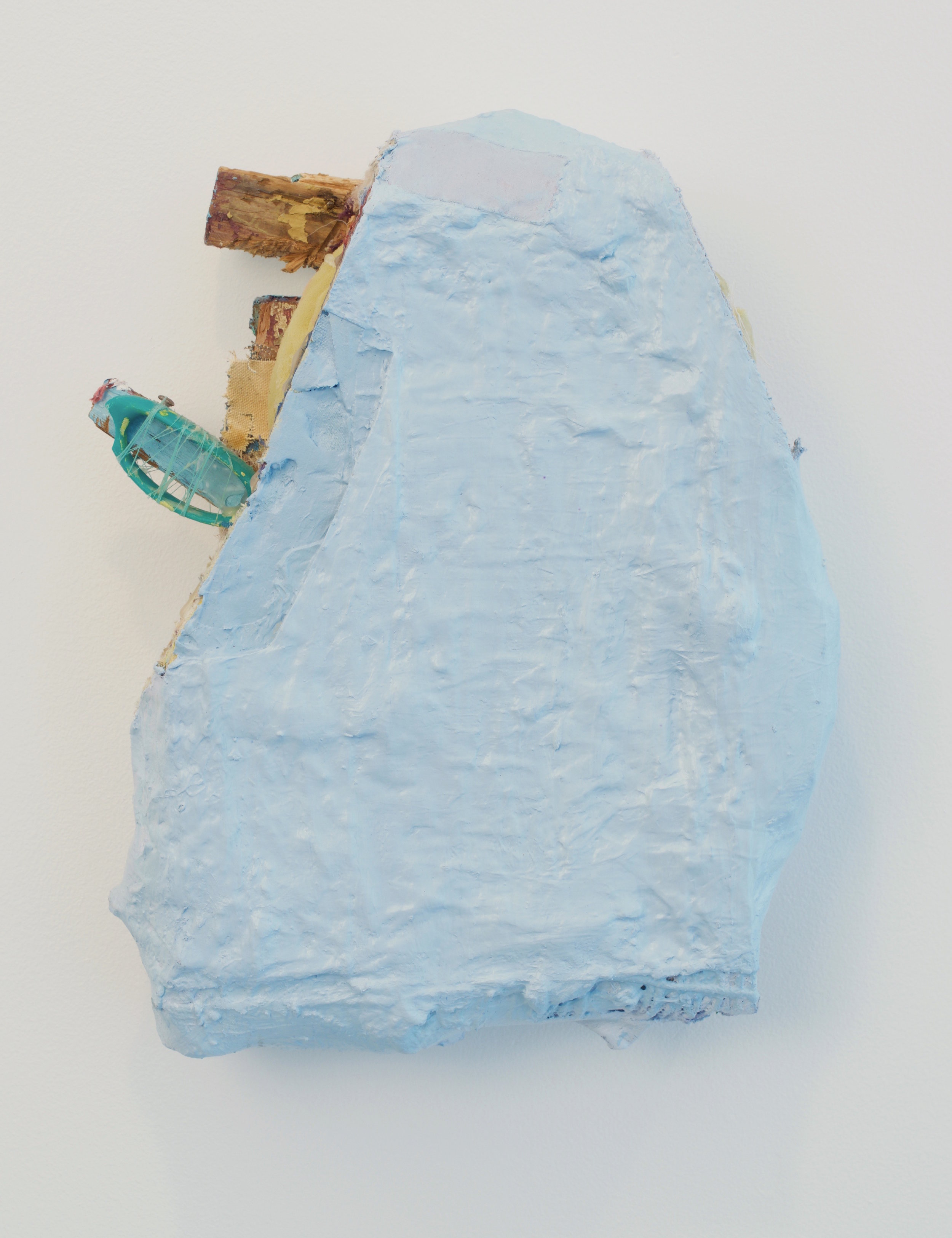 Jamey Hart, Cloud Daddy 2016. Acrylic, Glues, Fabrics, Scissor Handles, Wood, foam, Other Things. 17 x 12 x 4 inches.