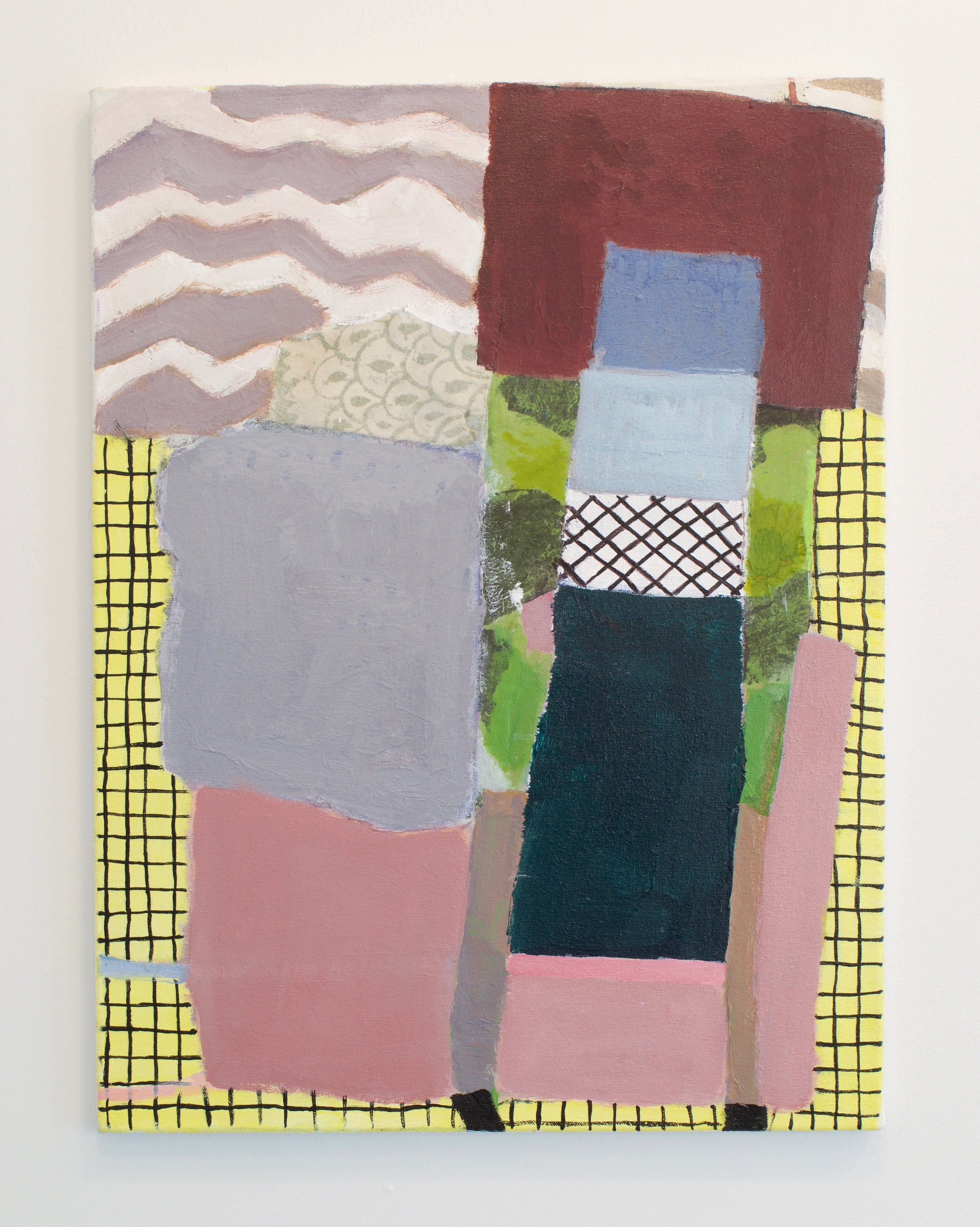 Fukuko Harris, Rocky Beach and Yellow Blanket, 2016. Acrylic, Fabric and Paper on Canvas. 24 x 18 inches.