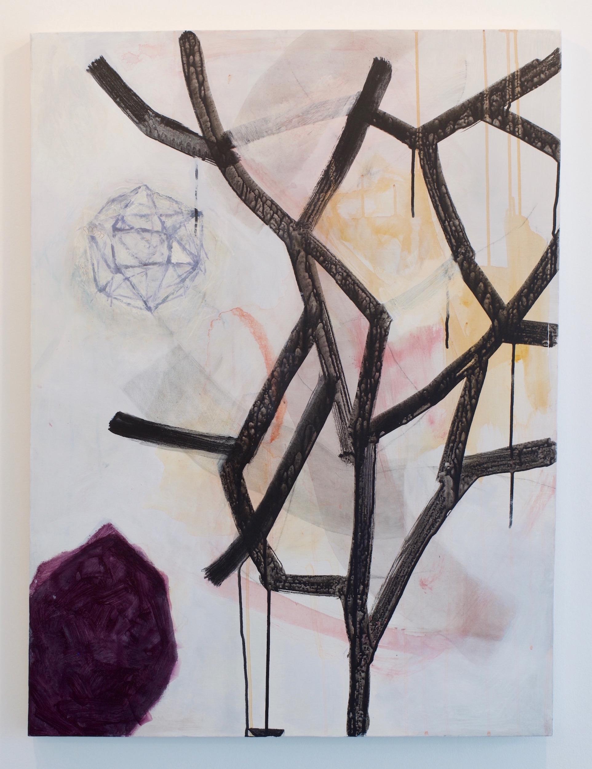 """Fukuko Harris, """"Empty Nest"""", 2016. Mixed Media, 40 x 30 inches."""