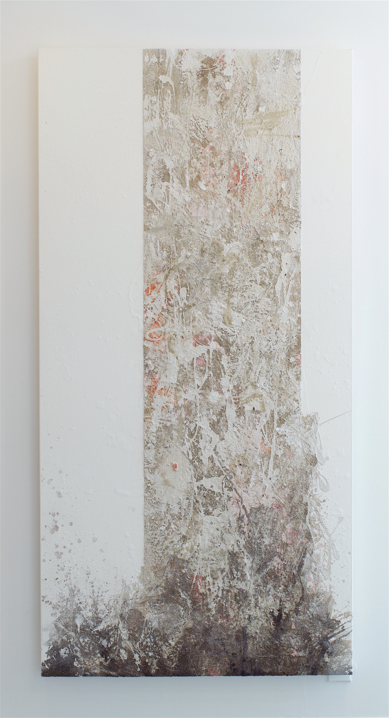 "Mark Van Wagner, ""Shoal"", 2017. Sand on Canvas, 72 x 36 inches"