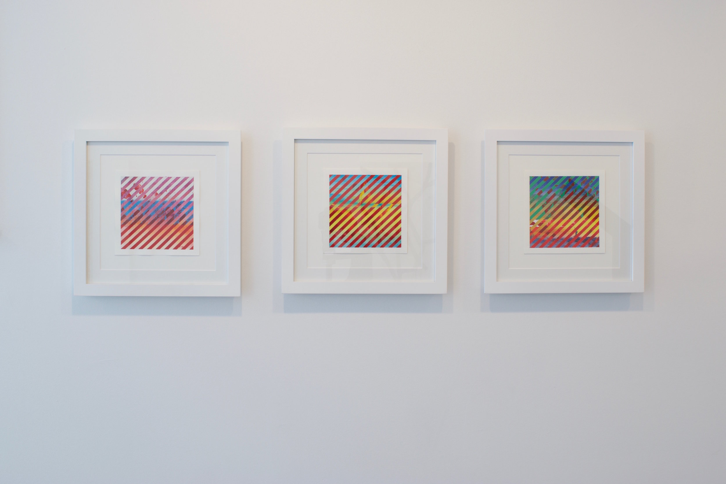 "Enrico Gomes, ""Red State, Sunsets, 2017. Acrylic and mixed media on paper, 7 x 7 inches (framed) 3 individual ones"