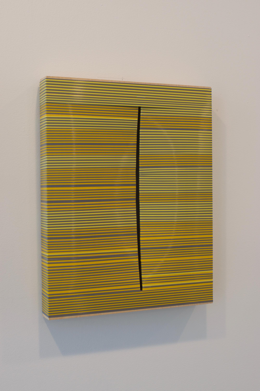 "Daniel Bruttig, ""Fontana Bundle"", 2011. Lanyards on panel, 14 x 11 inches"