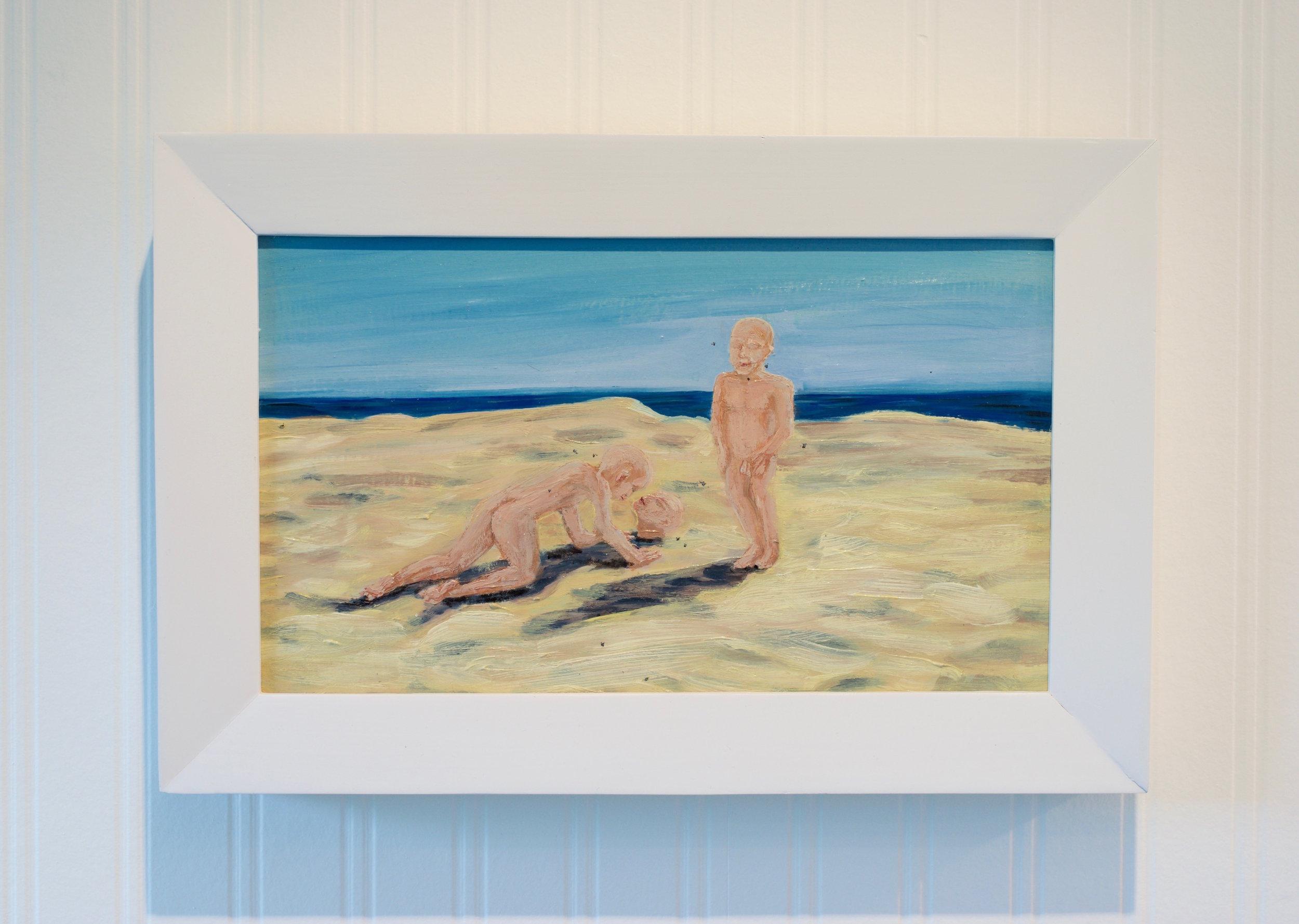 "Peggy Robinson, ""3 Boys"", Oil on panel (framed) 9 x 14 inches"
