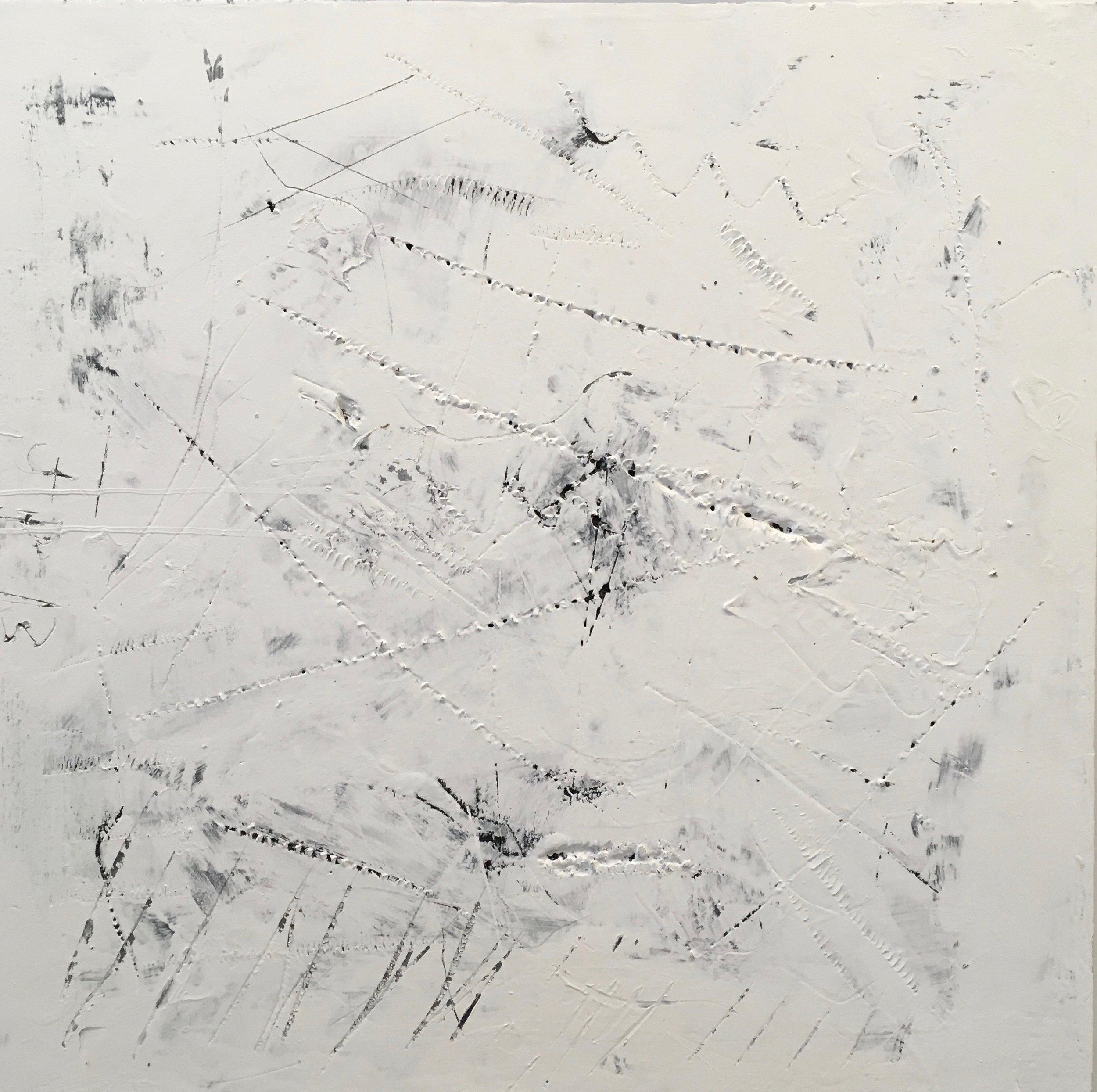 """Scratch Sketch #4,"" 2013. 24 x 24 in., acrylic on insulation board"