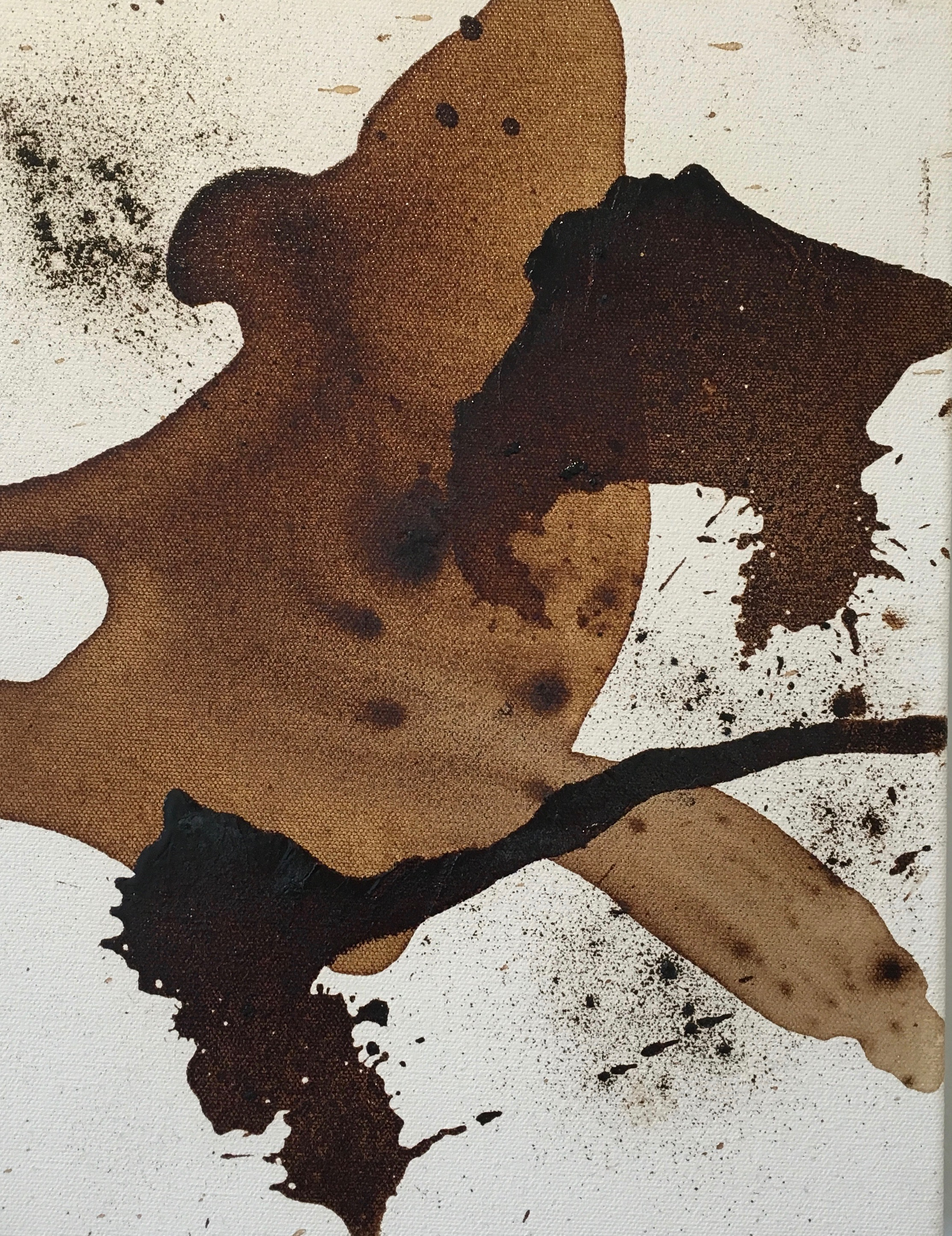 """(Dance),"" 2014. 14 x 11 in., instant coffee on canvas"