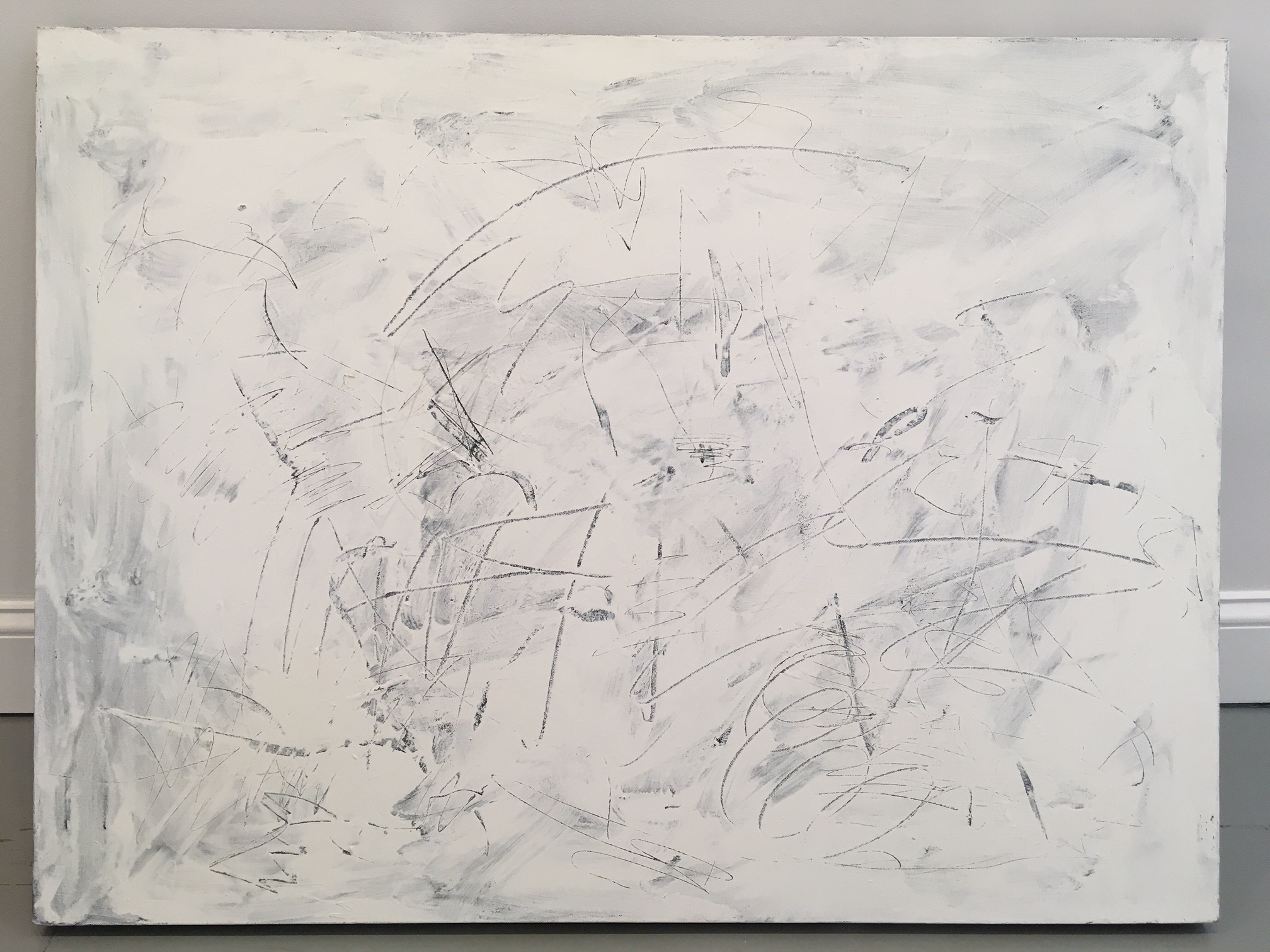 "John Perreault, ""Scratch Painting #5"", 2014. Acrylic on canvas, 30x40 in."