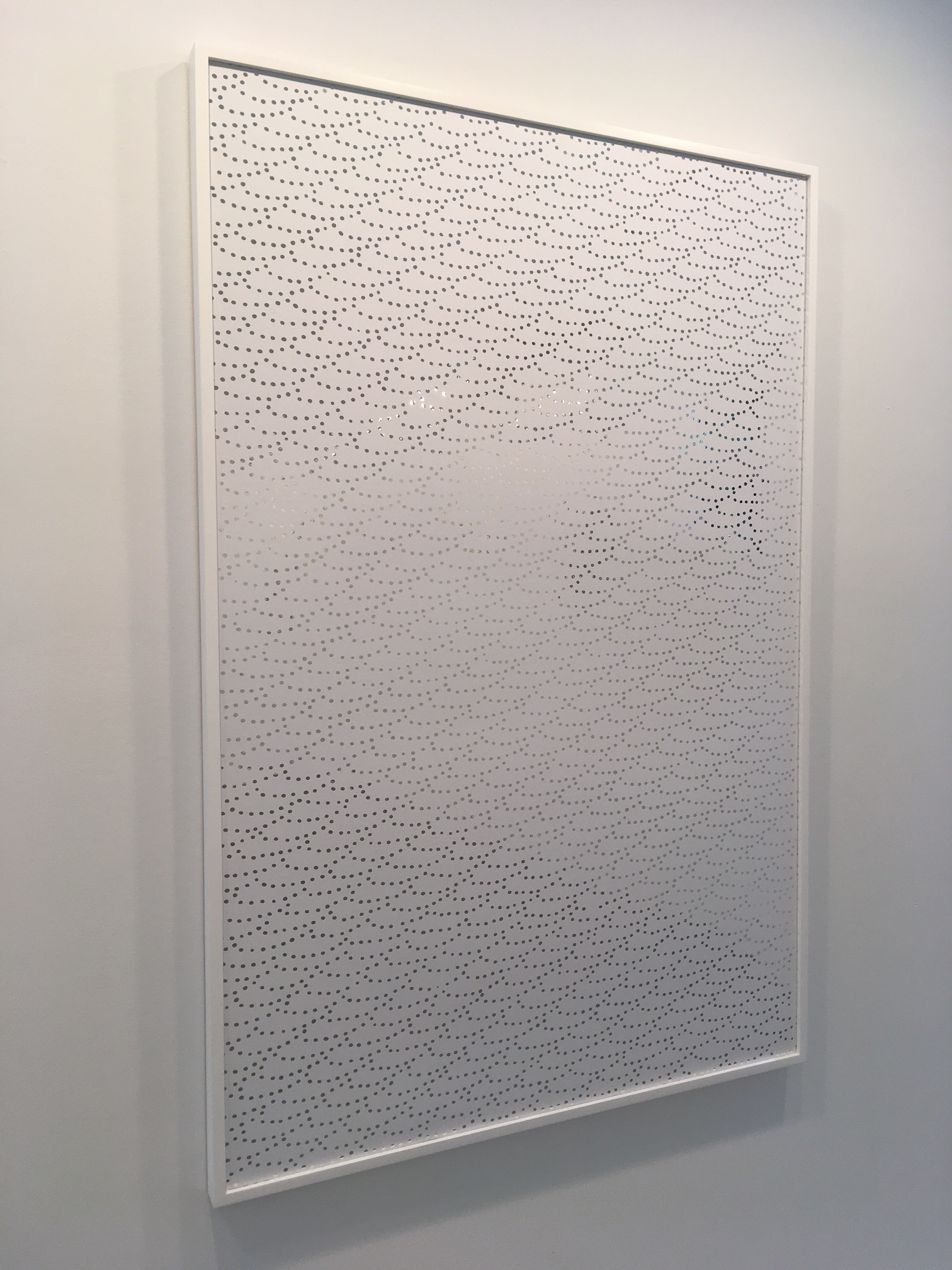 "Robert Zungu, ""Waveform"", 2015. Silver deposits on arches paper white vinyl. 48x32 in."