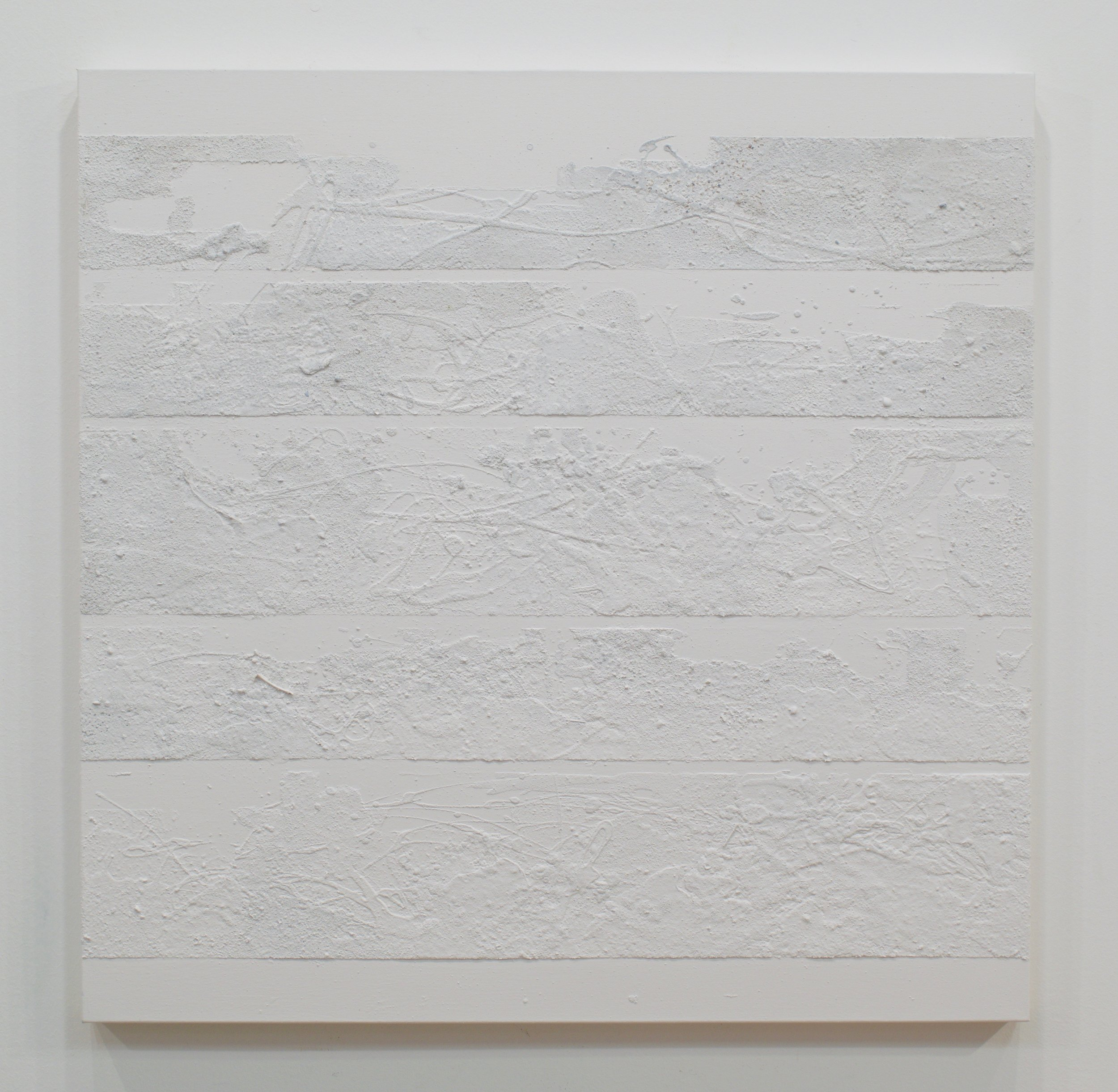 "MARK VAN WAGNER, ""WHITE SANDBARS"", 2017. SAND ON CANVAS. 36X36 IN."