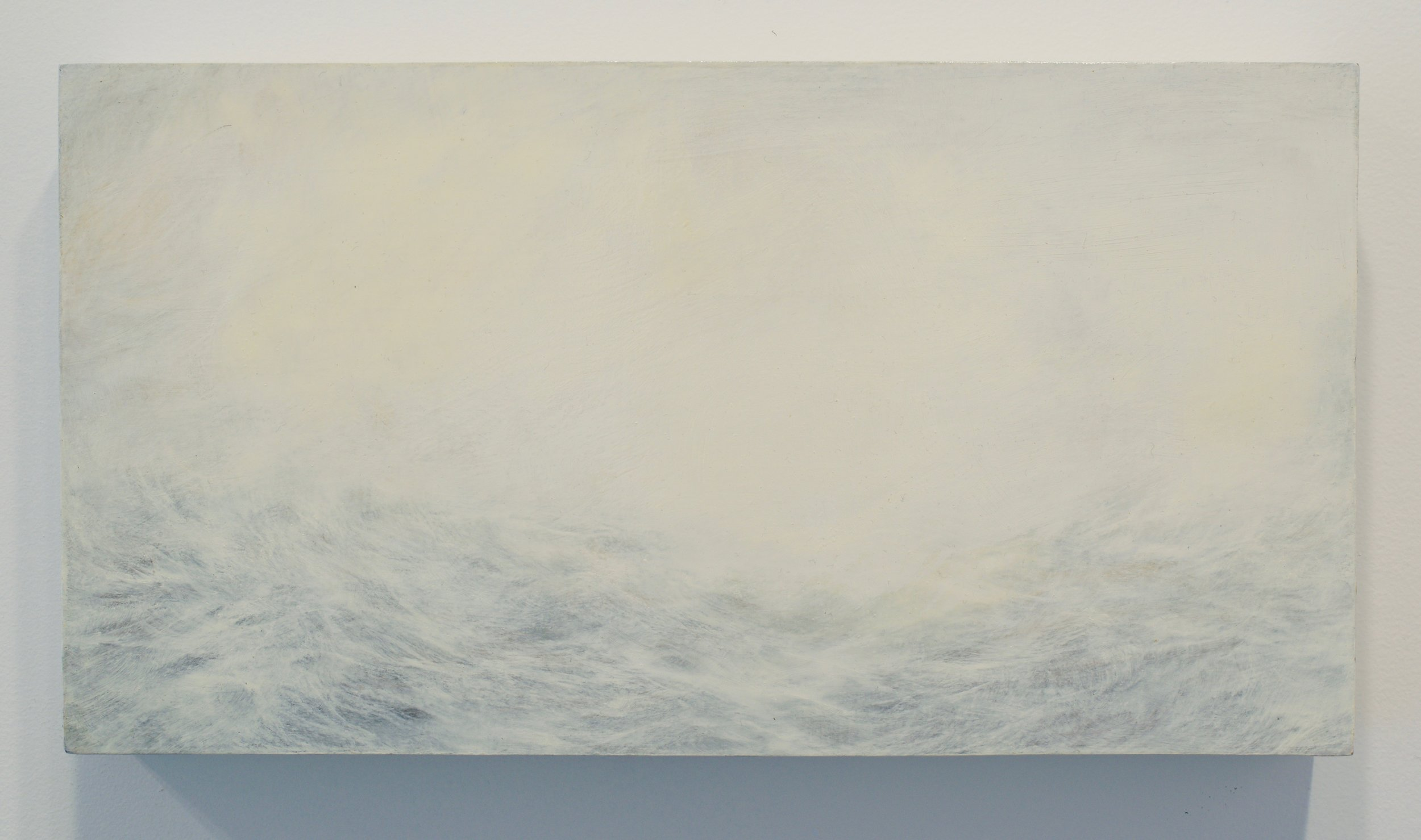 "MaryBeth Thielhelm, ""White 0111"", 2011. Oil on panel, 8x15 in. Courtesy of Sears-Peyton Gallery"