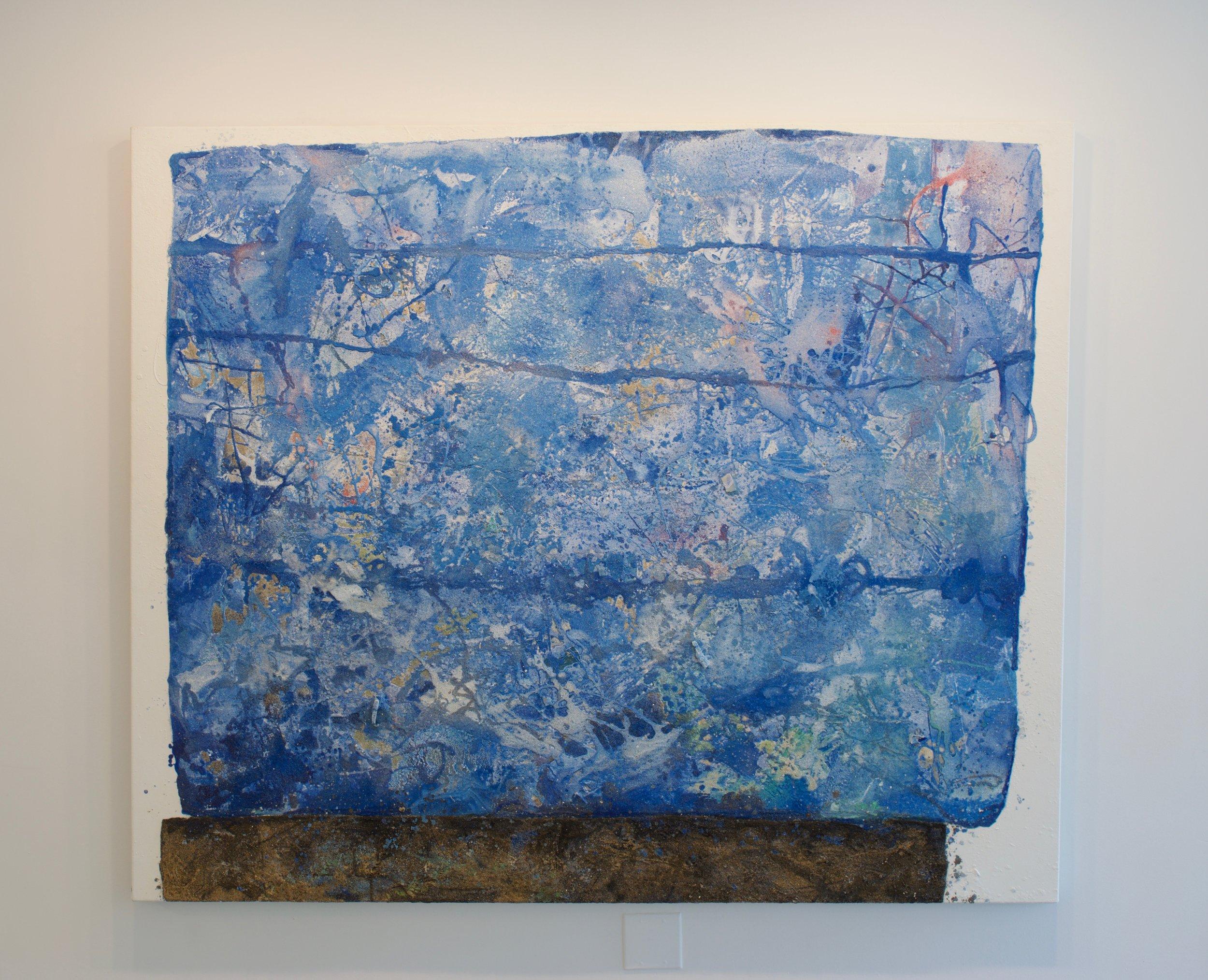 Mark Van Wagner, Blue Drifter, 2016. Sand debris polymers gesso on canvas, 60x72 in.
