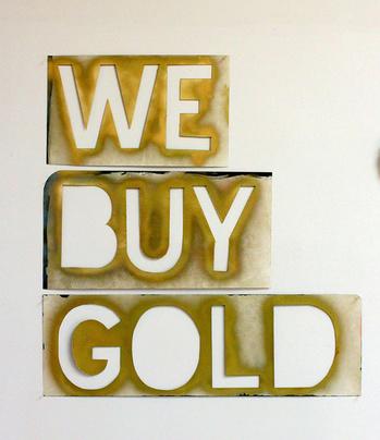 Jeff Feld, We Buy Gold, 2015. Ink, enamel on paper. Size variable.