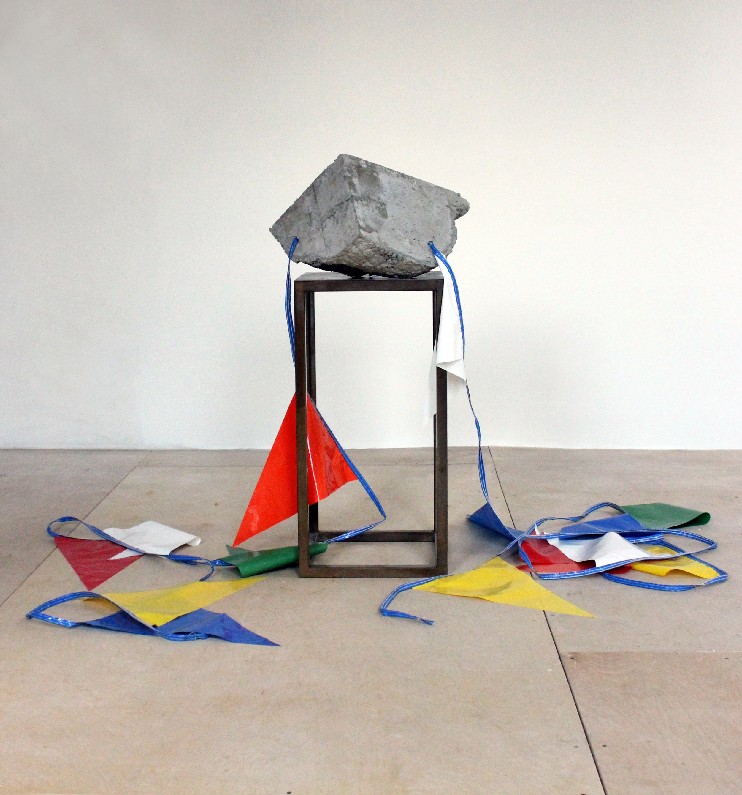 Jeff Feld_Sale of the Century_2015_Concrete steel nylon pennant_40x19x20 in.jpg
